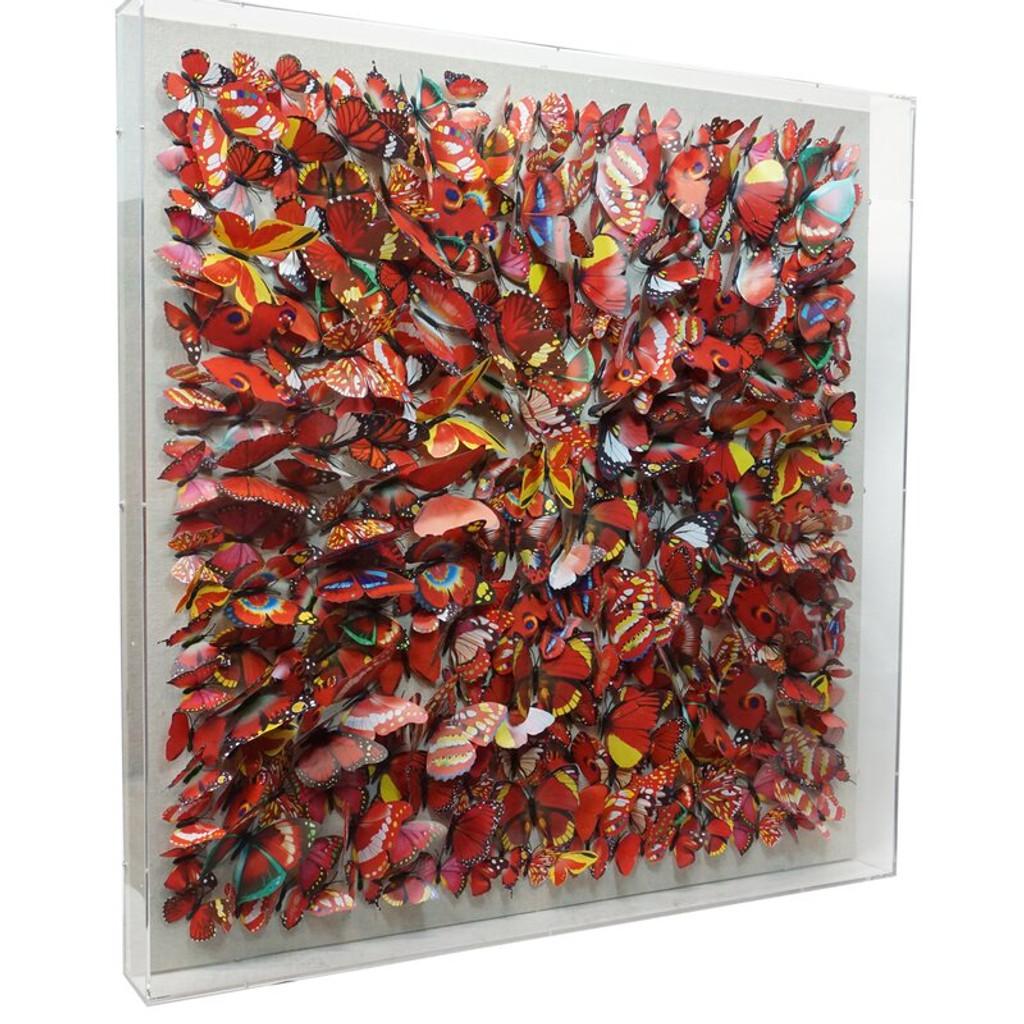 Red Paper Butterflies Shadow Box Wall Decor