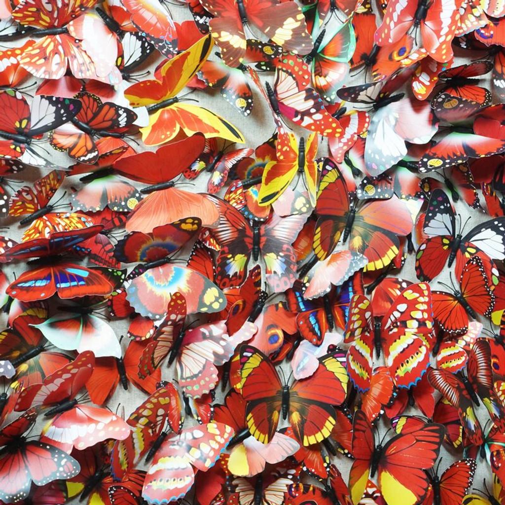 red butterflies paper modern art clear acrylic lucite shadow box wall art