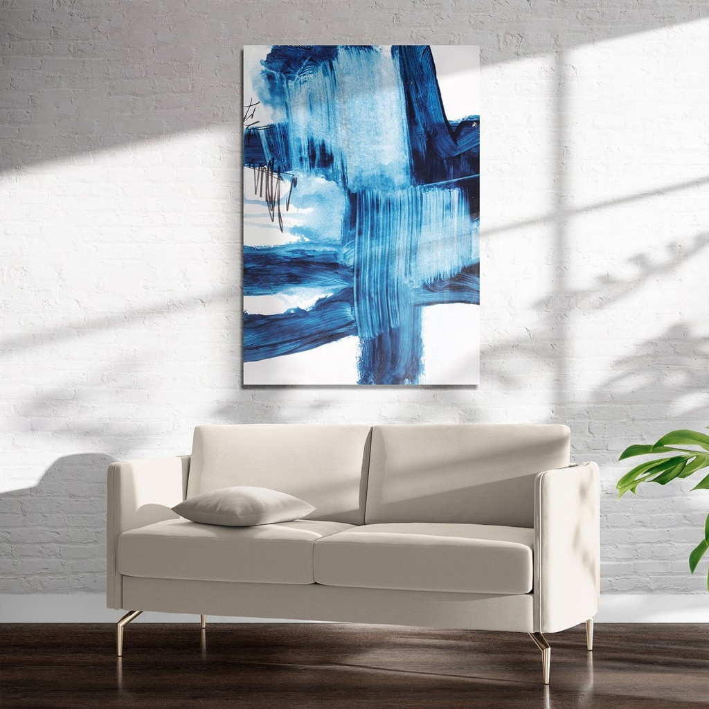 Abstract Blue Swath on Acrylic Wall Art