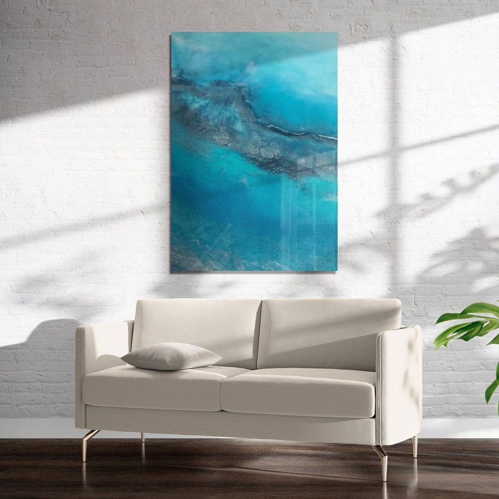 Abstract Blue Water on Acrylic Wall Art (sailing to paradise