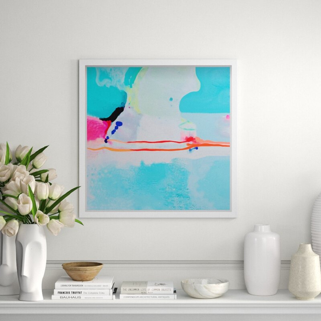 Blue Abstract and Orange Print in Clear Acrylic Shadow Box (oliver gal 7 mile bridge
