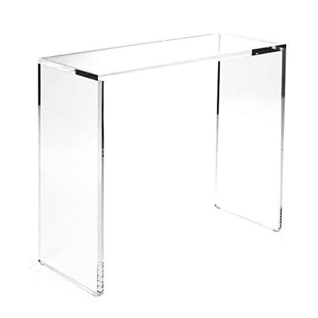 """1"""" Thick Lucite Console Table with Straight Corners modern sleek slab clear sofa"""