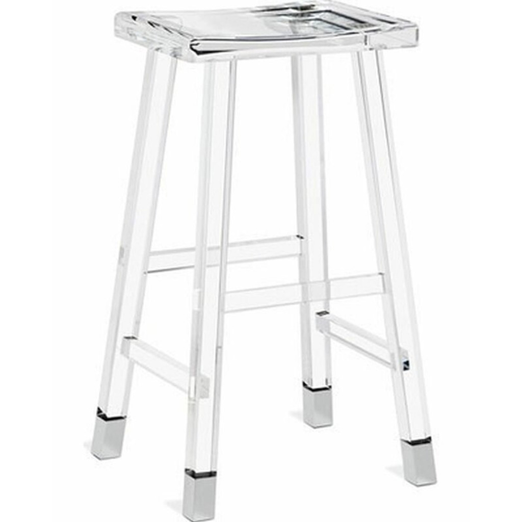 Modern Lucite Captain's Stool acrylic clear backless counter height