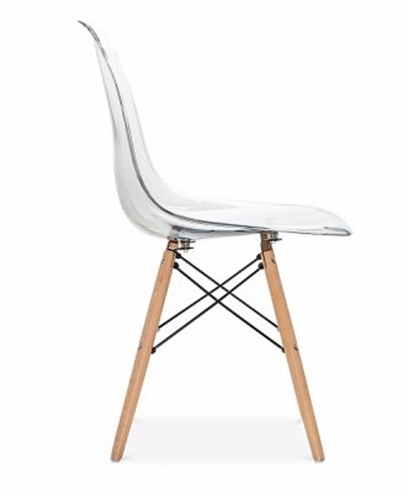 cheap dsr chair kids size with Eiffel eames base wood legs and clear acrylic lucite plastic molded seat