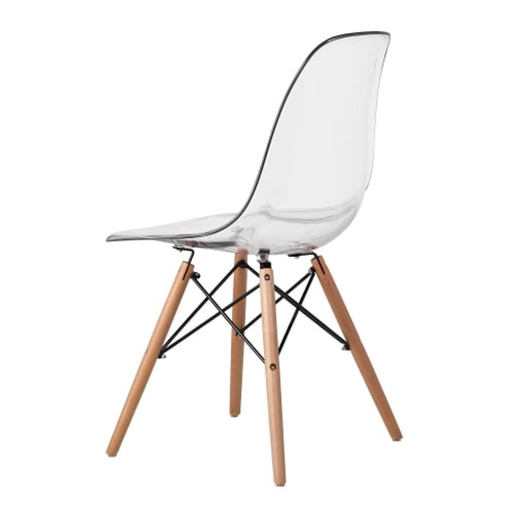 molded clear acrylic khazana eames replica wood eiffel leg lucite chair