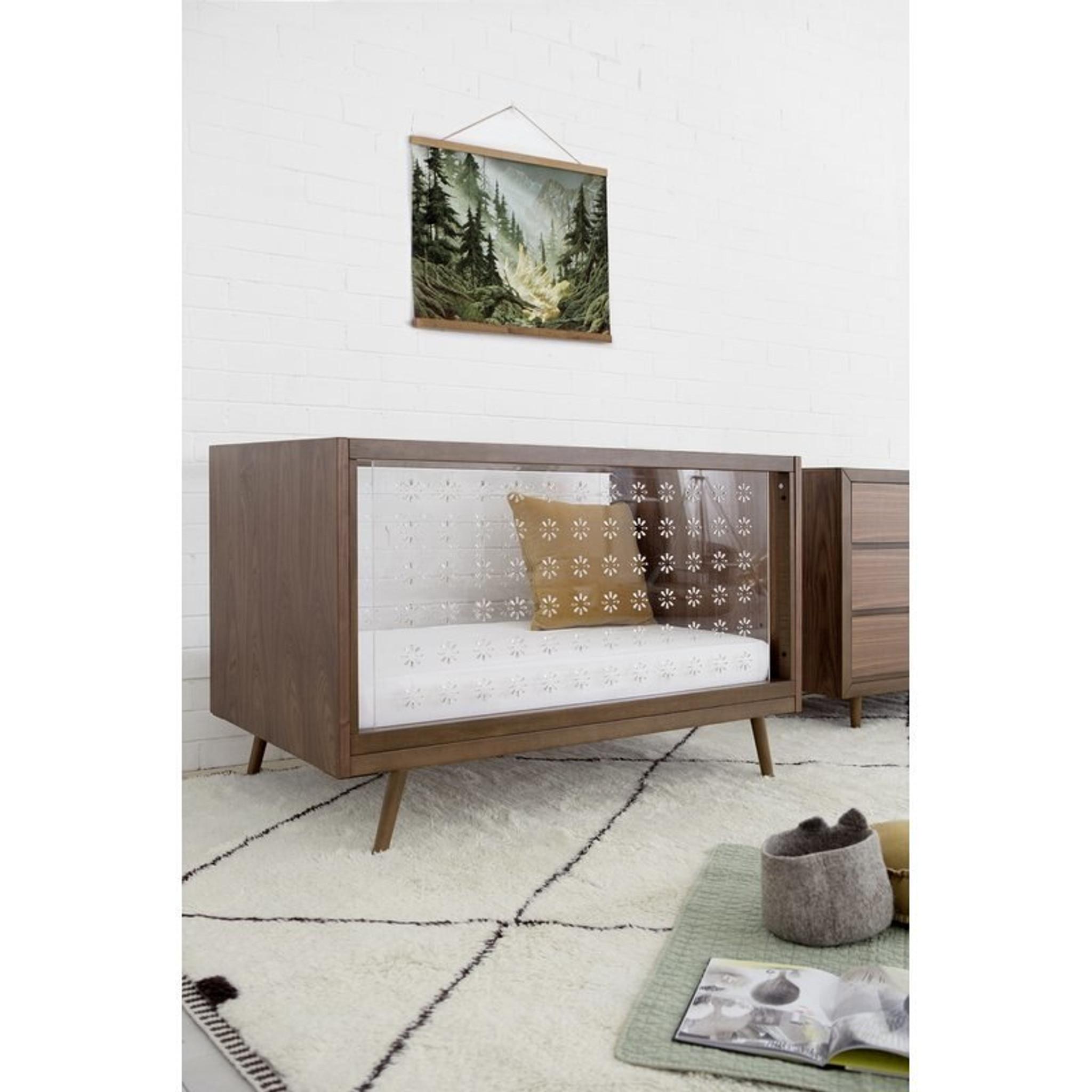Ubabub Nifty Walnut Acrylic Crib And Mattress Clear Home Design
