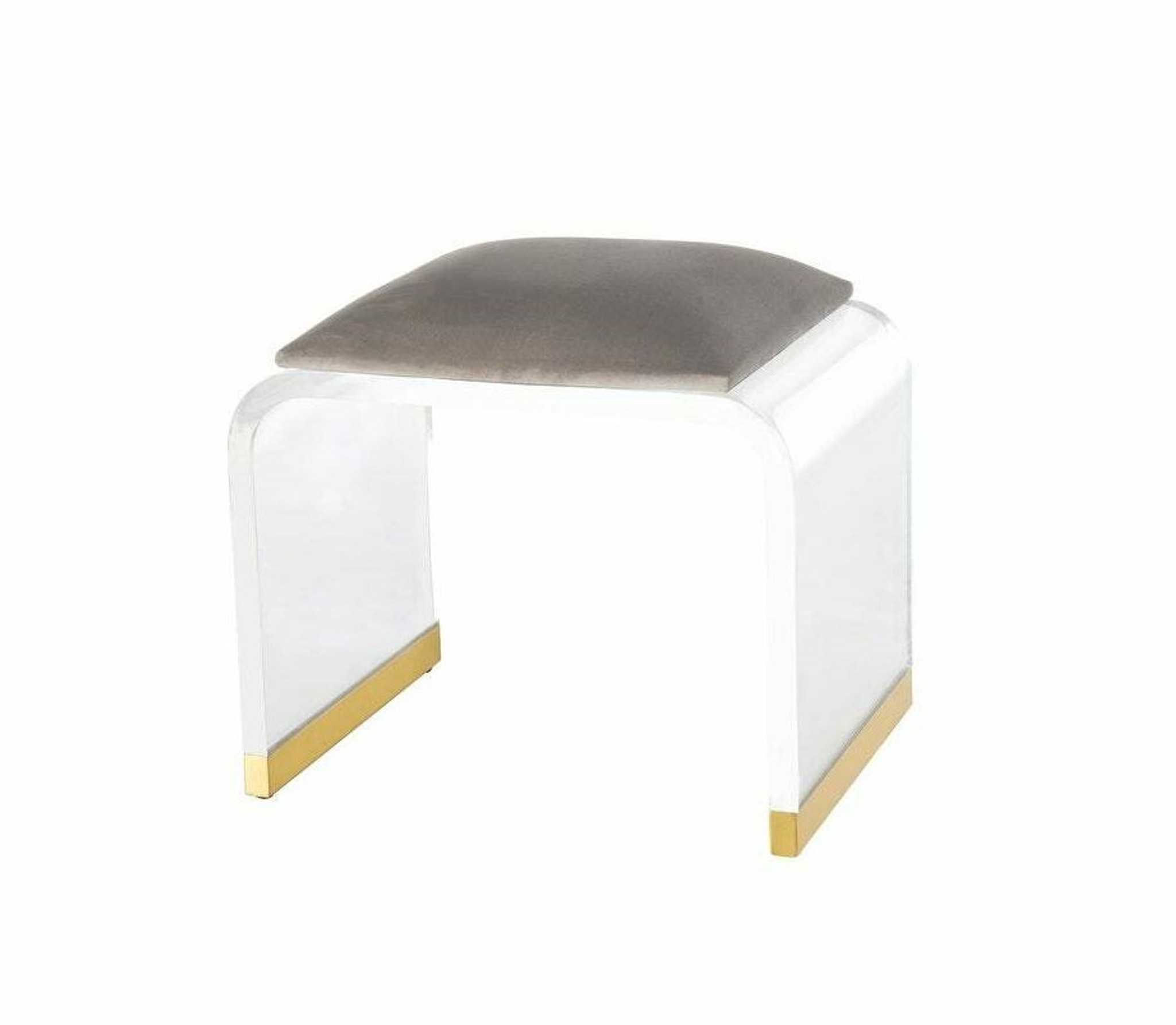 Clear Waterfall Stool with Grey Top and Gold Trim