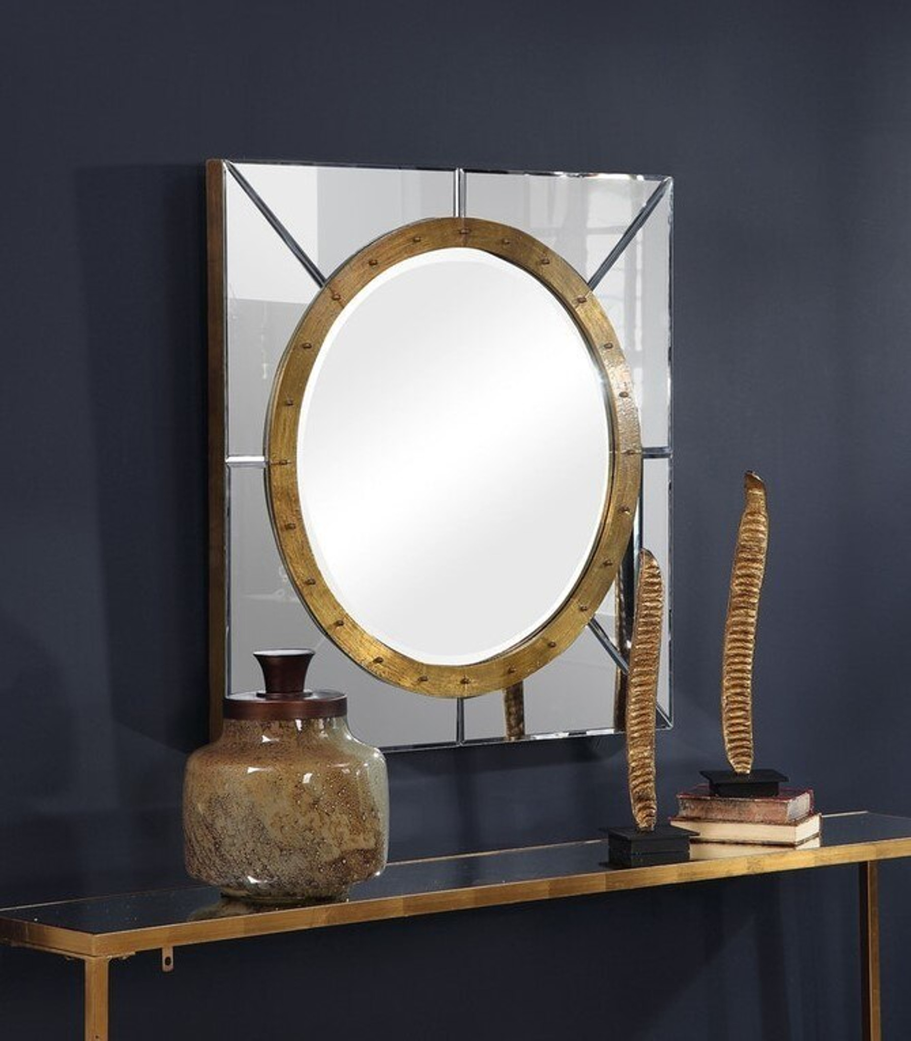 uttermost maya large square bullseye gold and clear mirror wall hanging mirror foyer hallway