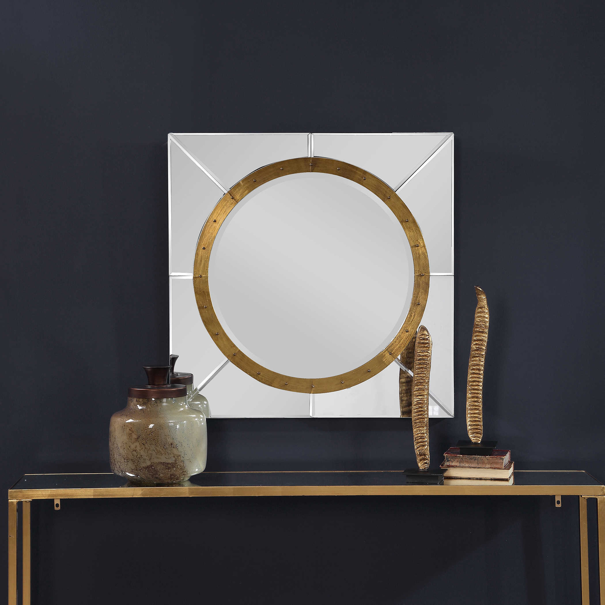 """uttermost maya square large 36"""" wall décor mirror"""