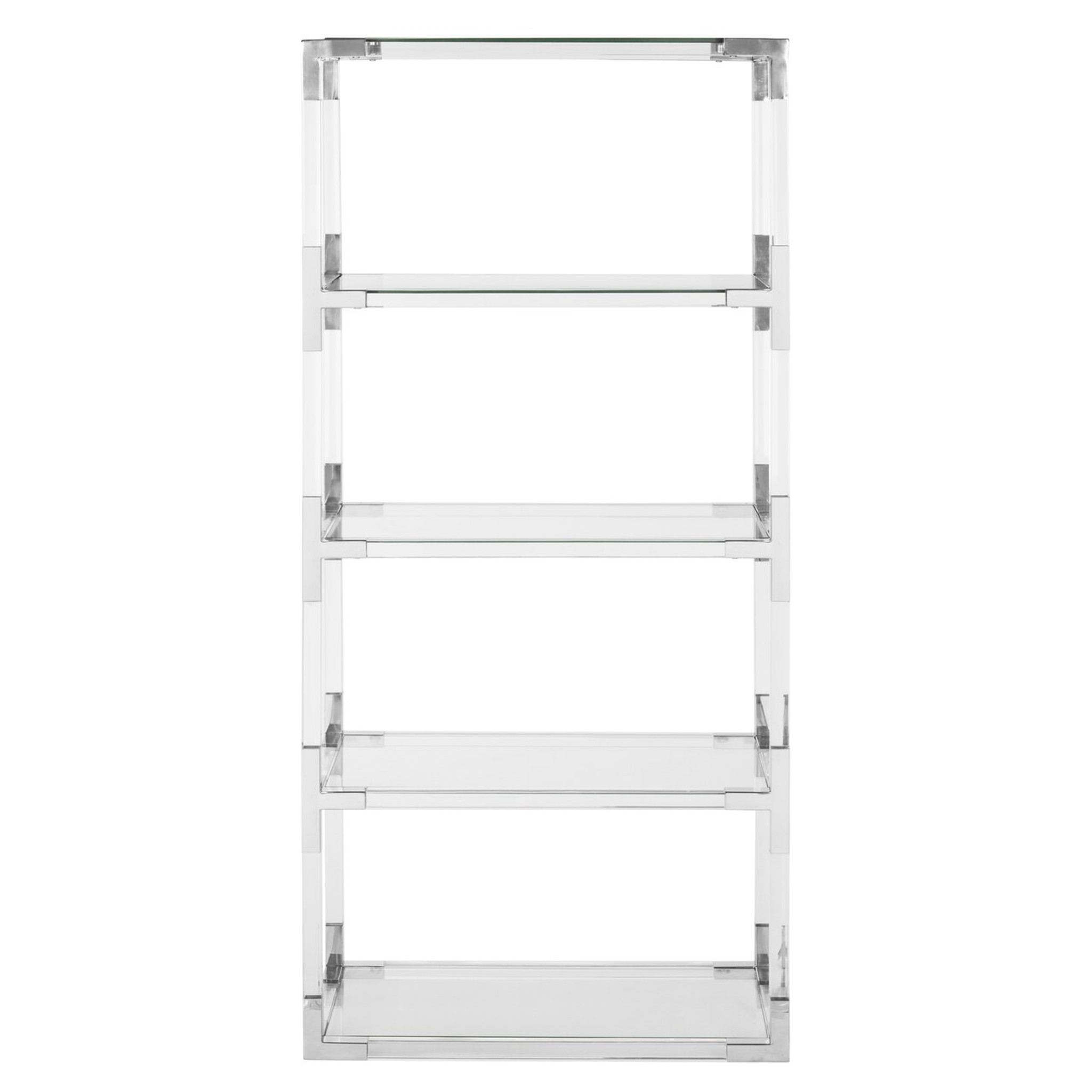 acrylic bookcase with metal accents silver chrome nickel safavieh best price