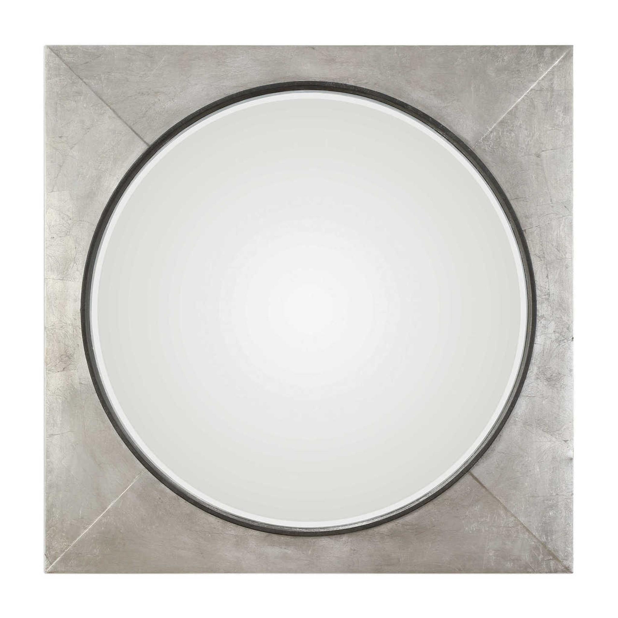 large square wall mirrors decorative silver tin industrial modern uttermost Solomon metallic silver