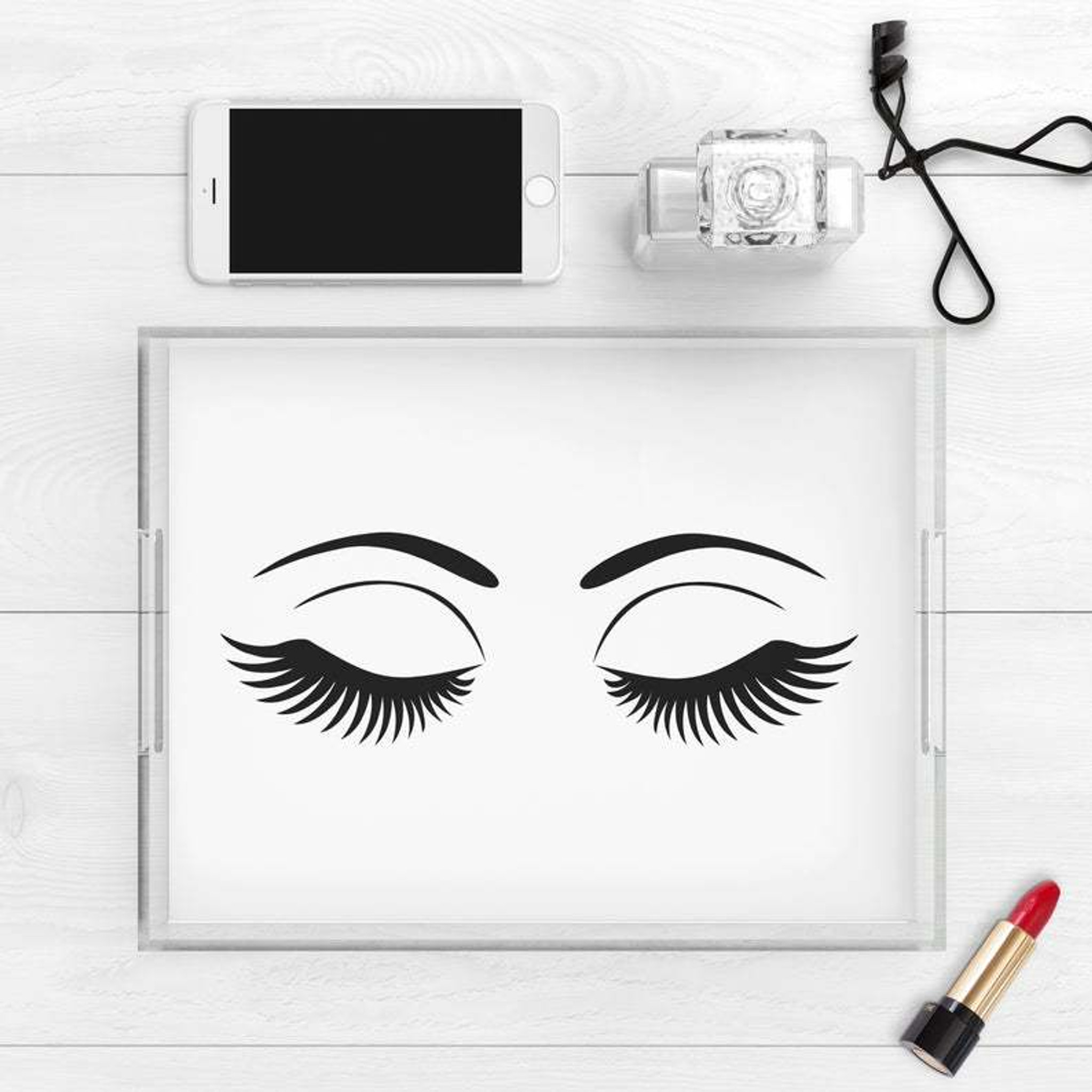 clear acrylic make up tray with eyelash print black and white