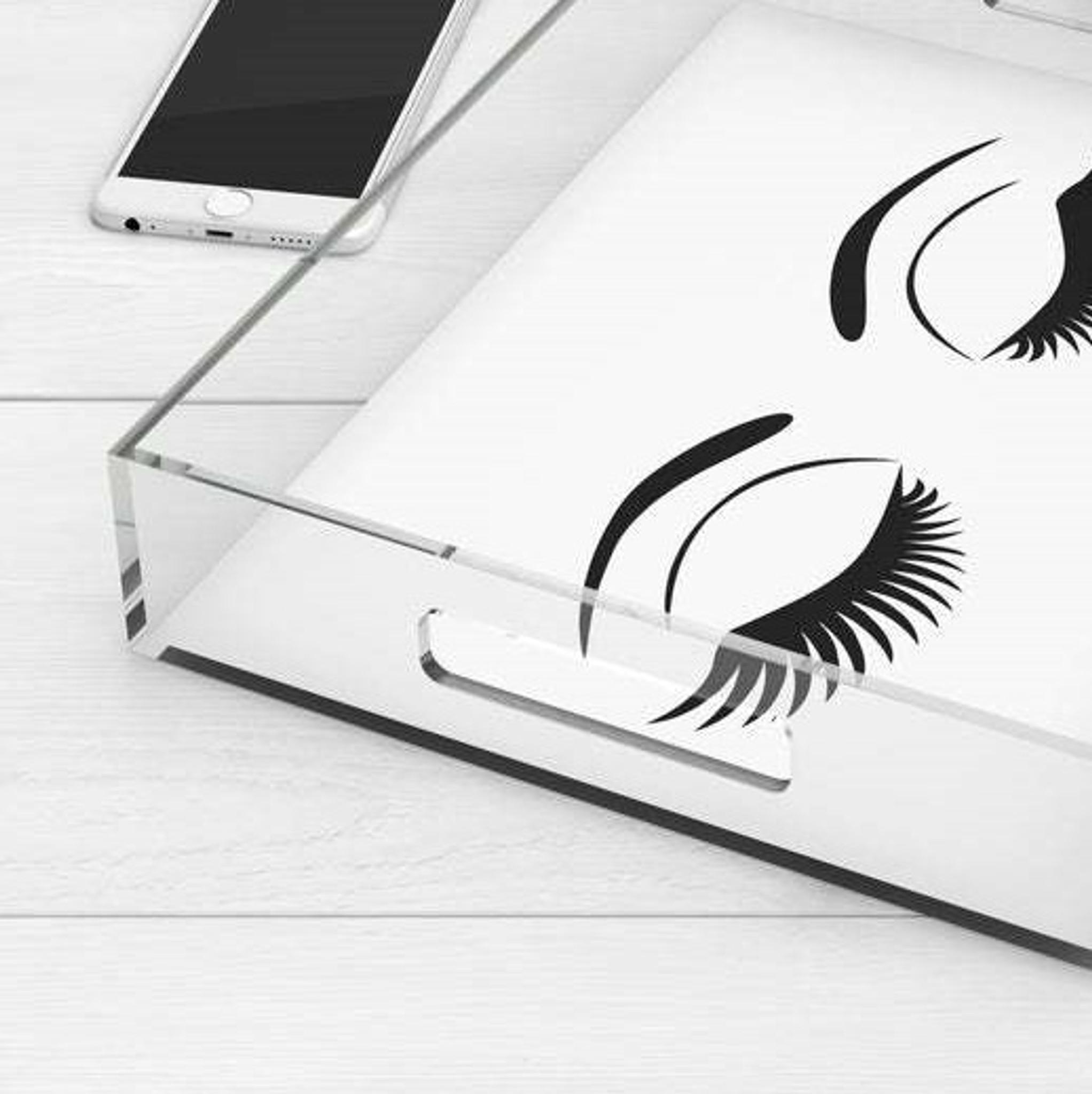 kids teen black and white lucite acrylic tray black eyelashes