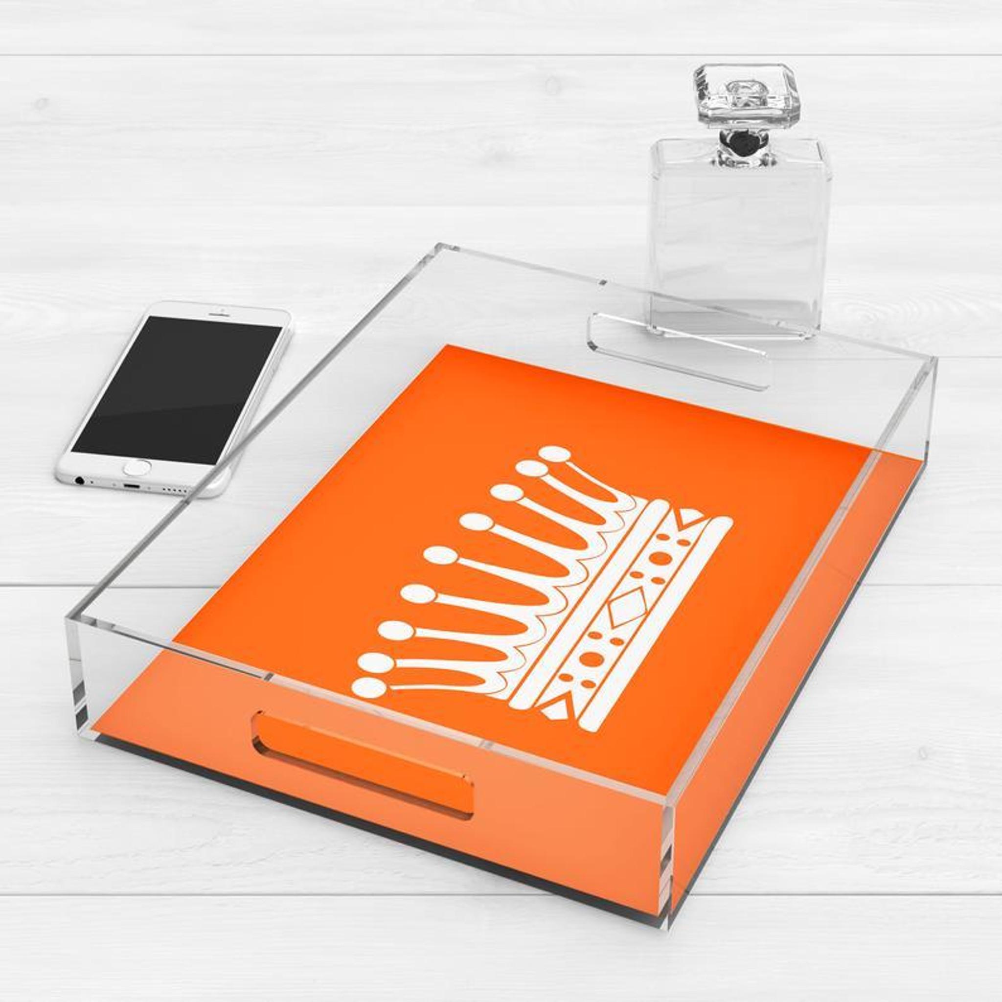 large acrylic serving decorative tray with handles bright orange crown princess design