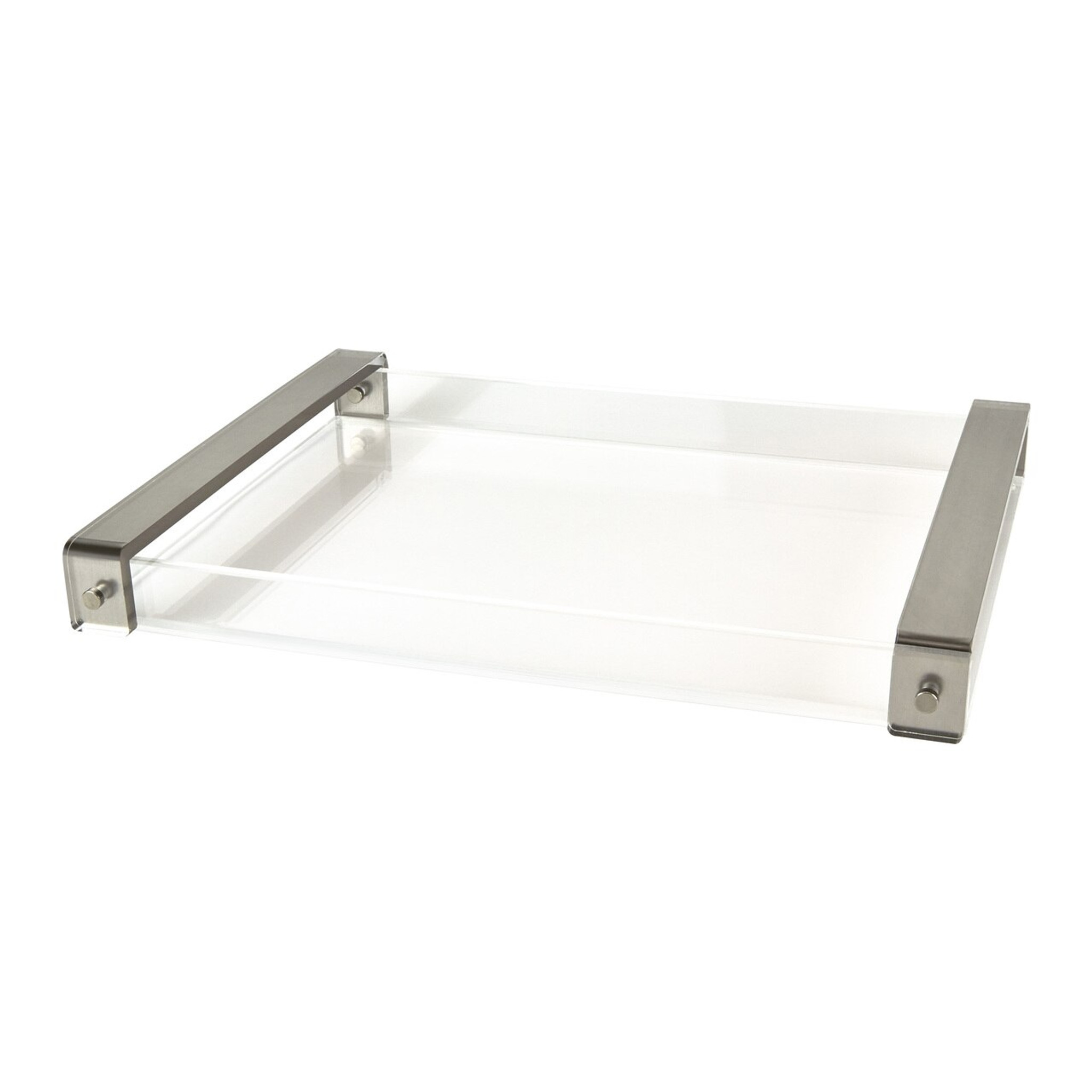 large clear acrylic lucite tray with brushed silver metallic handles