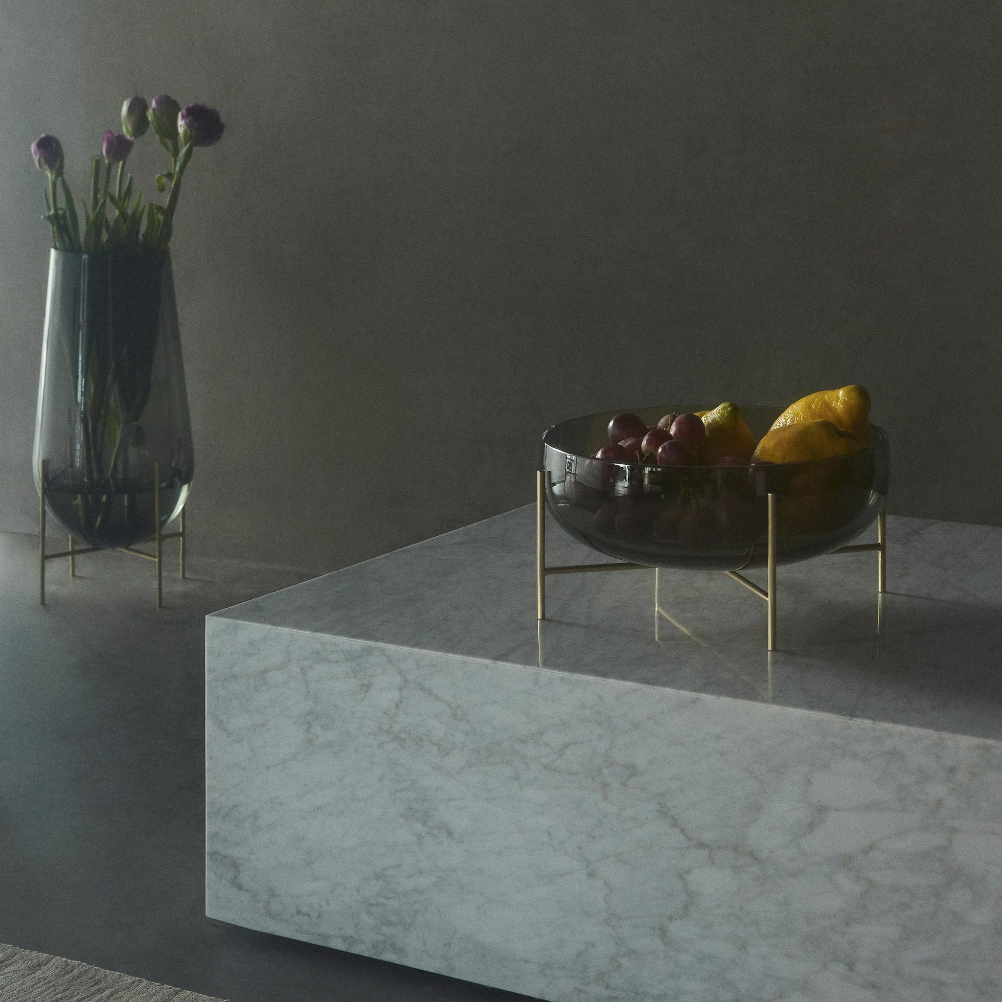 Grey Glass Bowl on Brass Stand,   Size Options