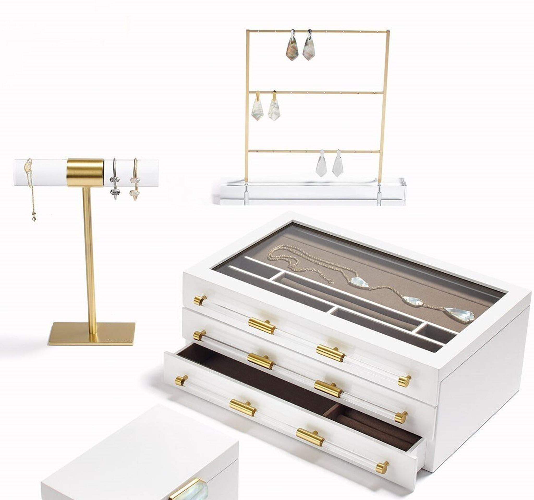 jewelry boxes with acrylic handles kendra scott drawers mirror clear panel top
