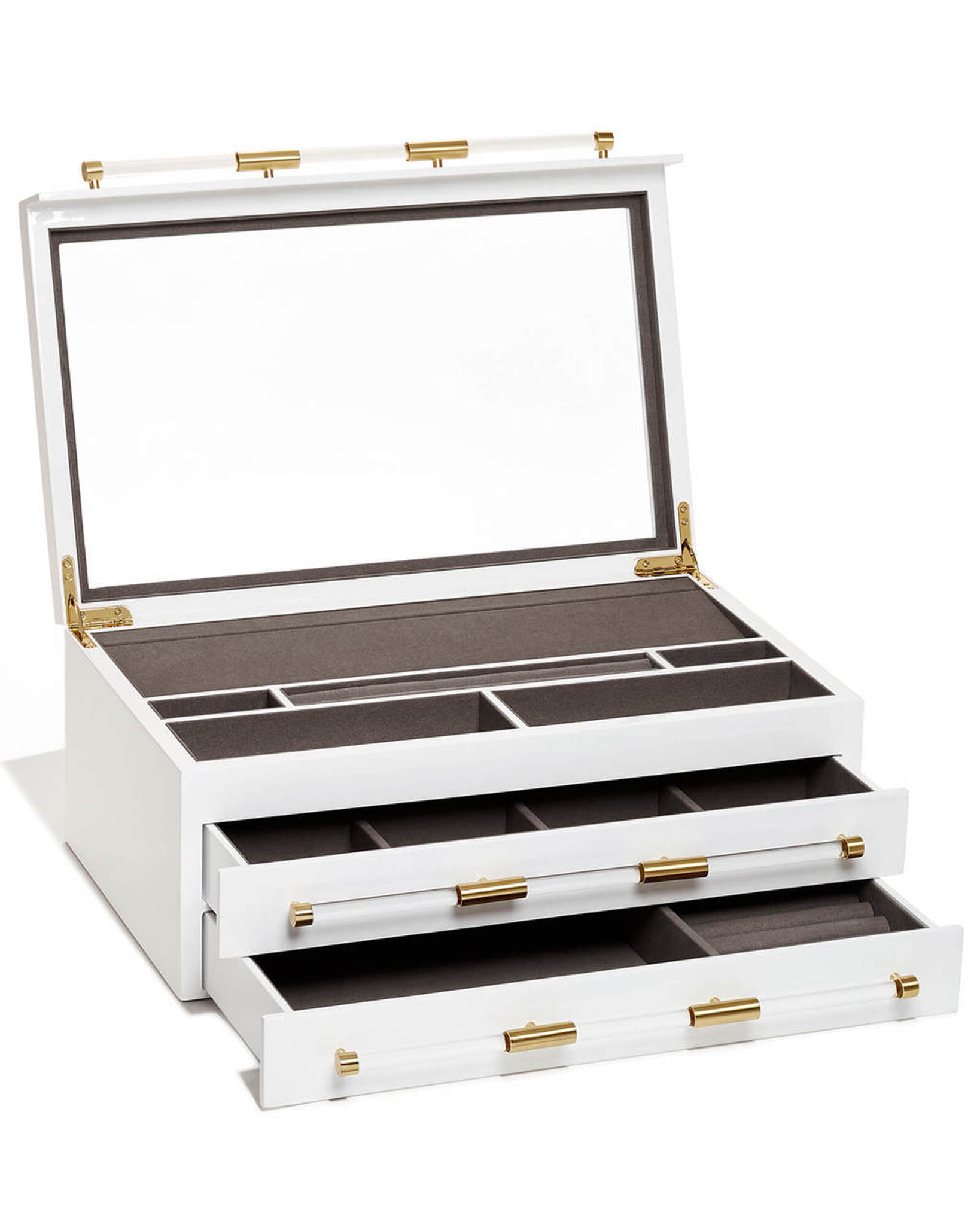 kendra scott jewelry box with acrylic handles large white with drawers storage large mirror chic modern c