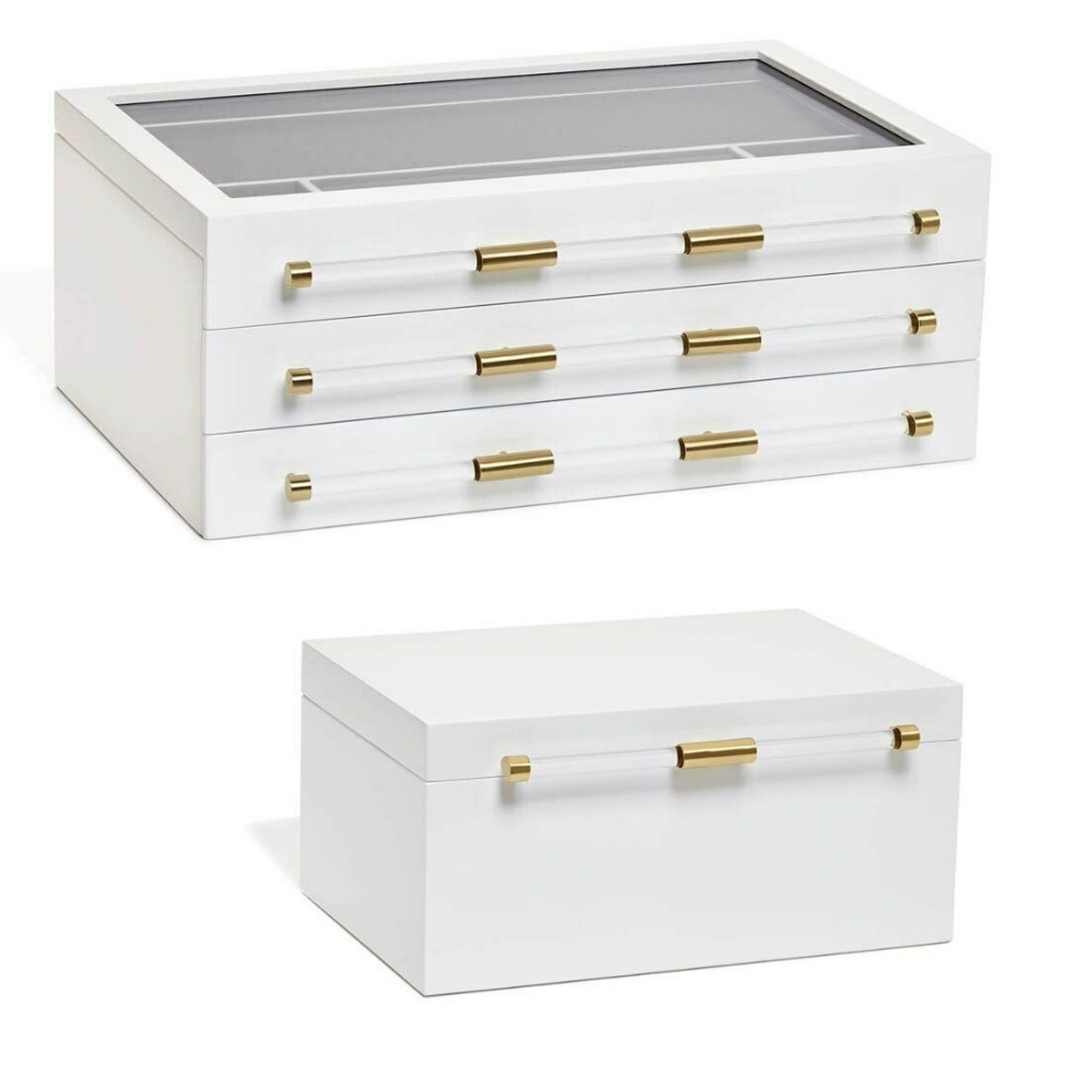 modern white lacquer storage jewelry box clear acrylic top lucite handles