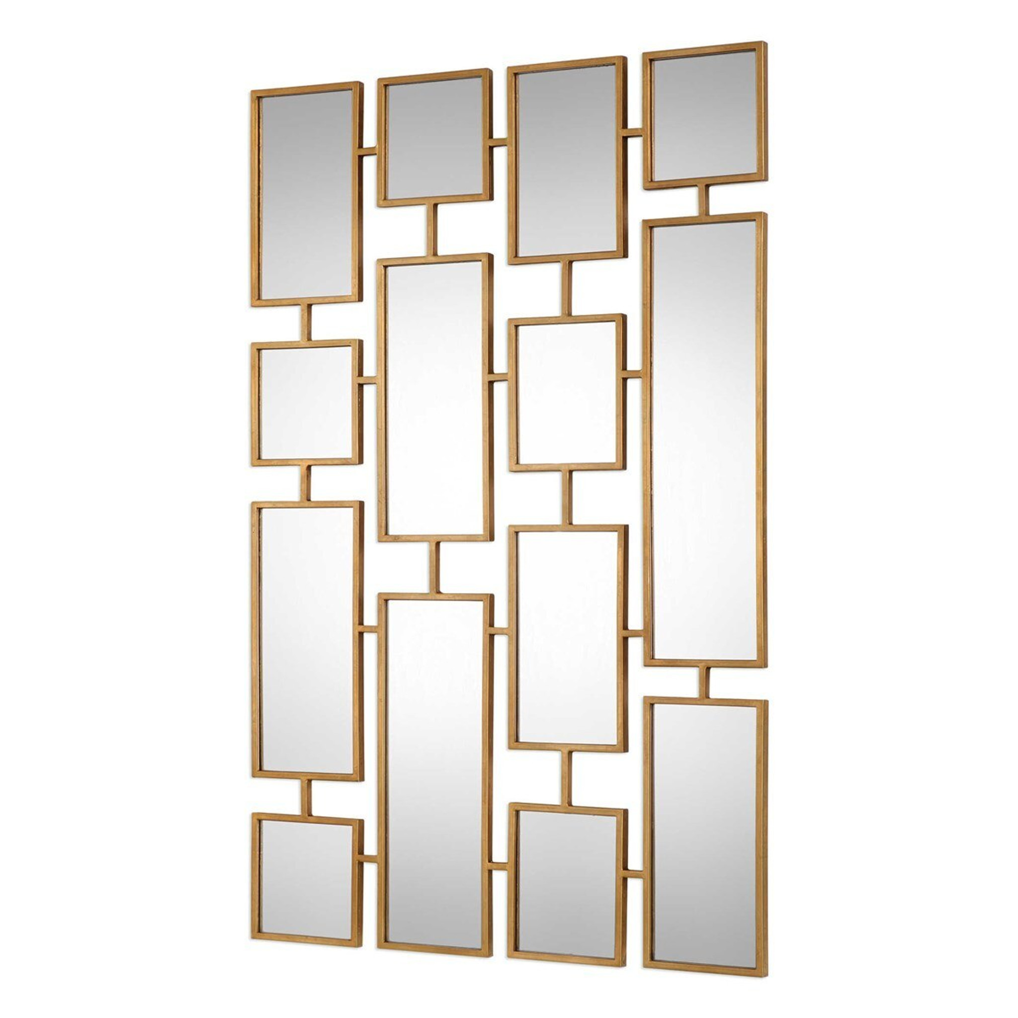 large decorative wall mirror geometric rectangles gold brass statement mirror kennon uttermost