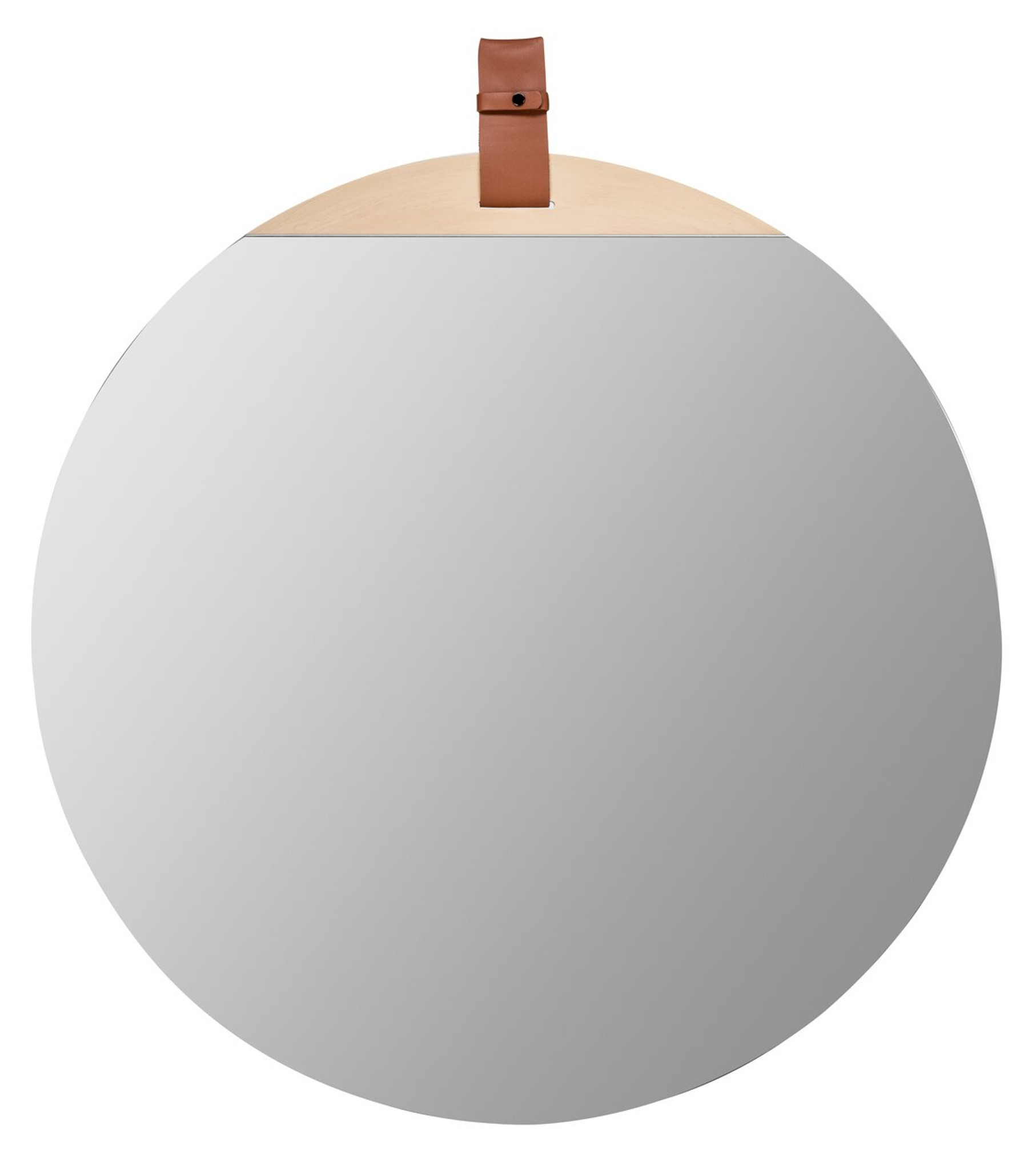 round leather mirror large decorative wall leather detail strap Heppner Wall Mirror