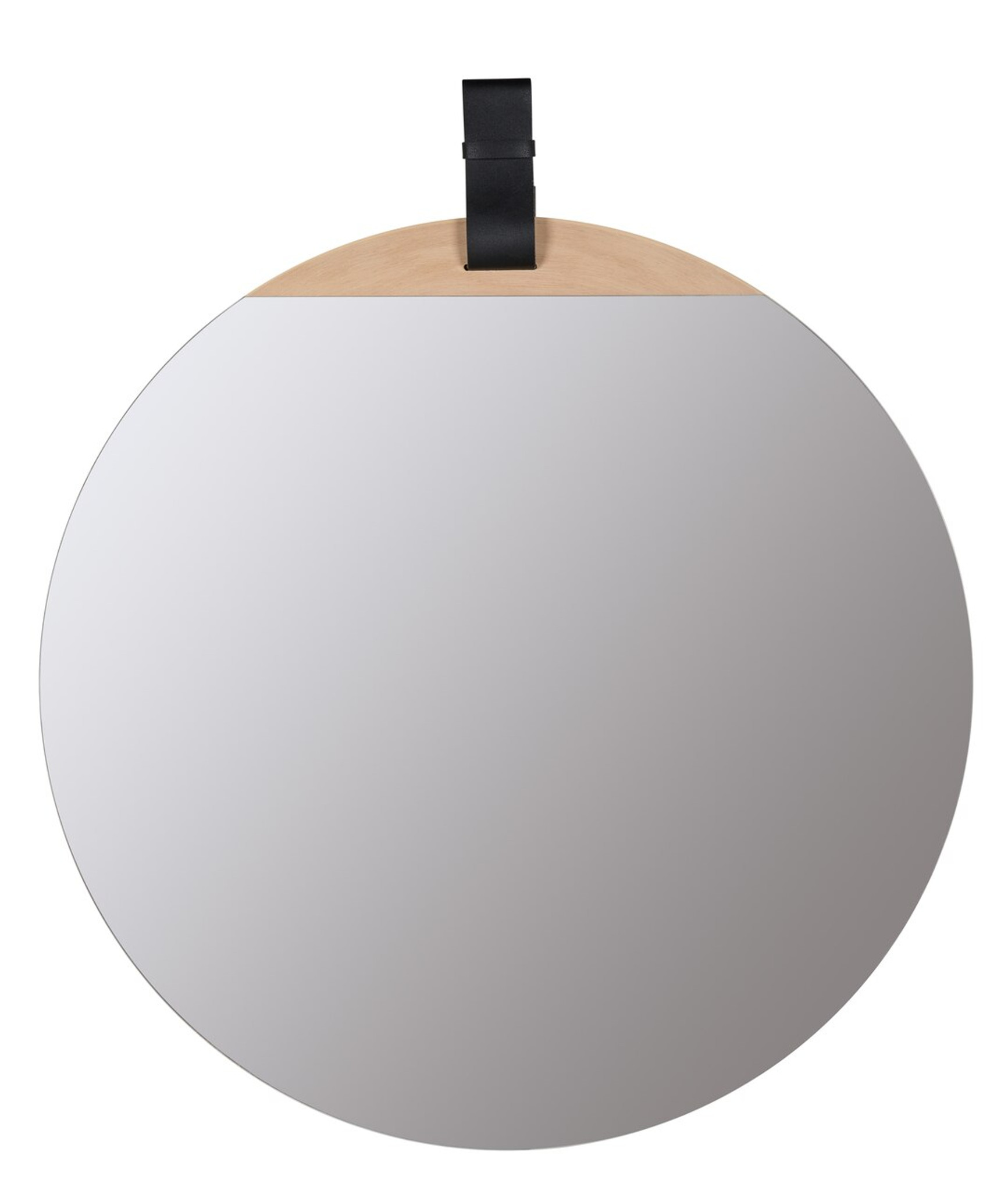 round mirror with strap leather detail wood frameless Heppner Wall Mirror