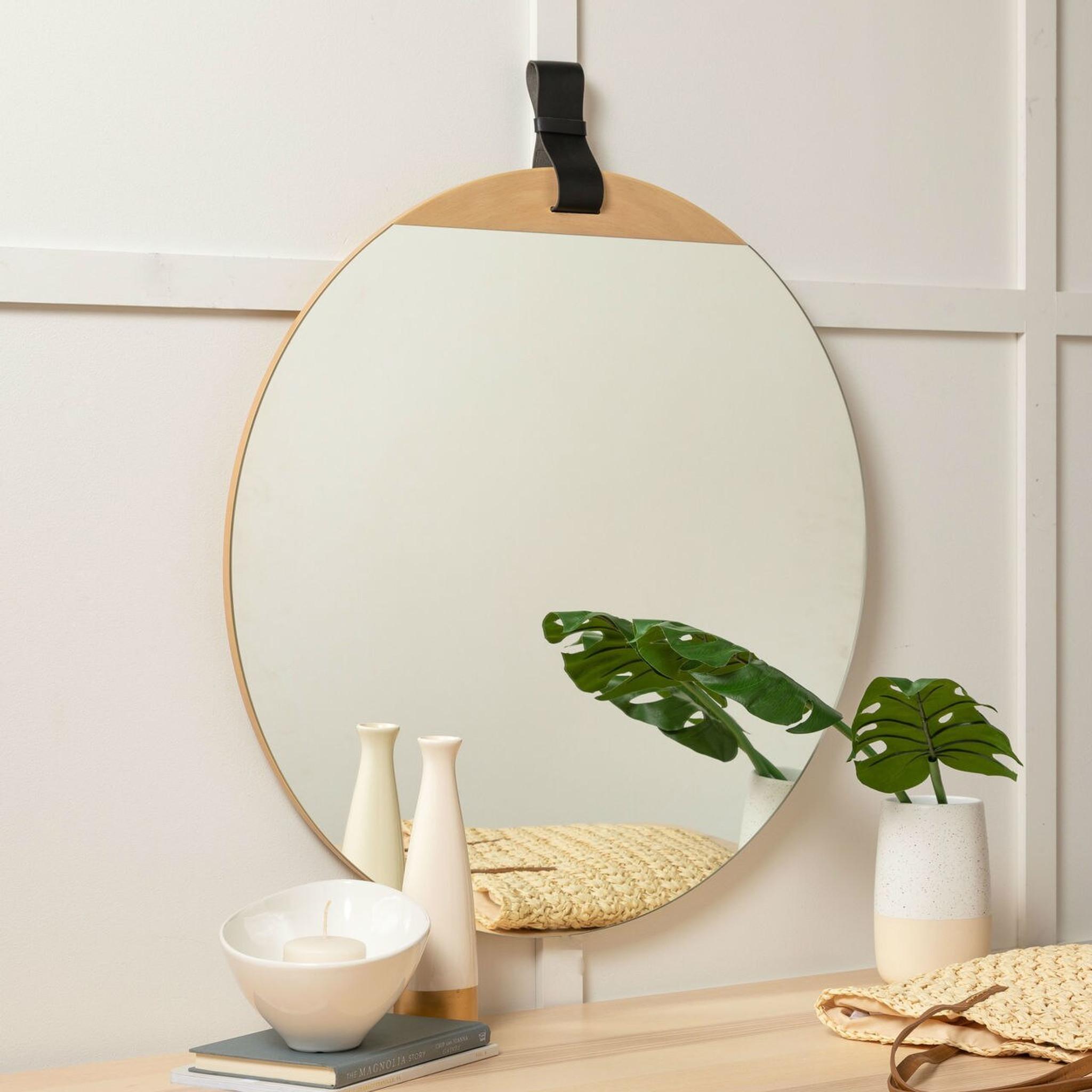 round mirror leather strap modern frameless powder room bathroom Heppner Wall Mirror