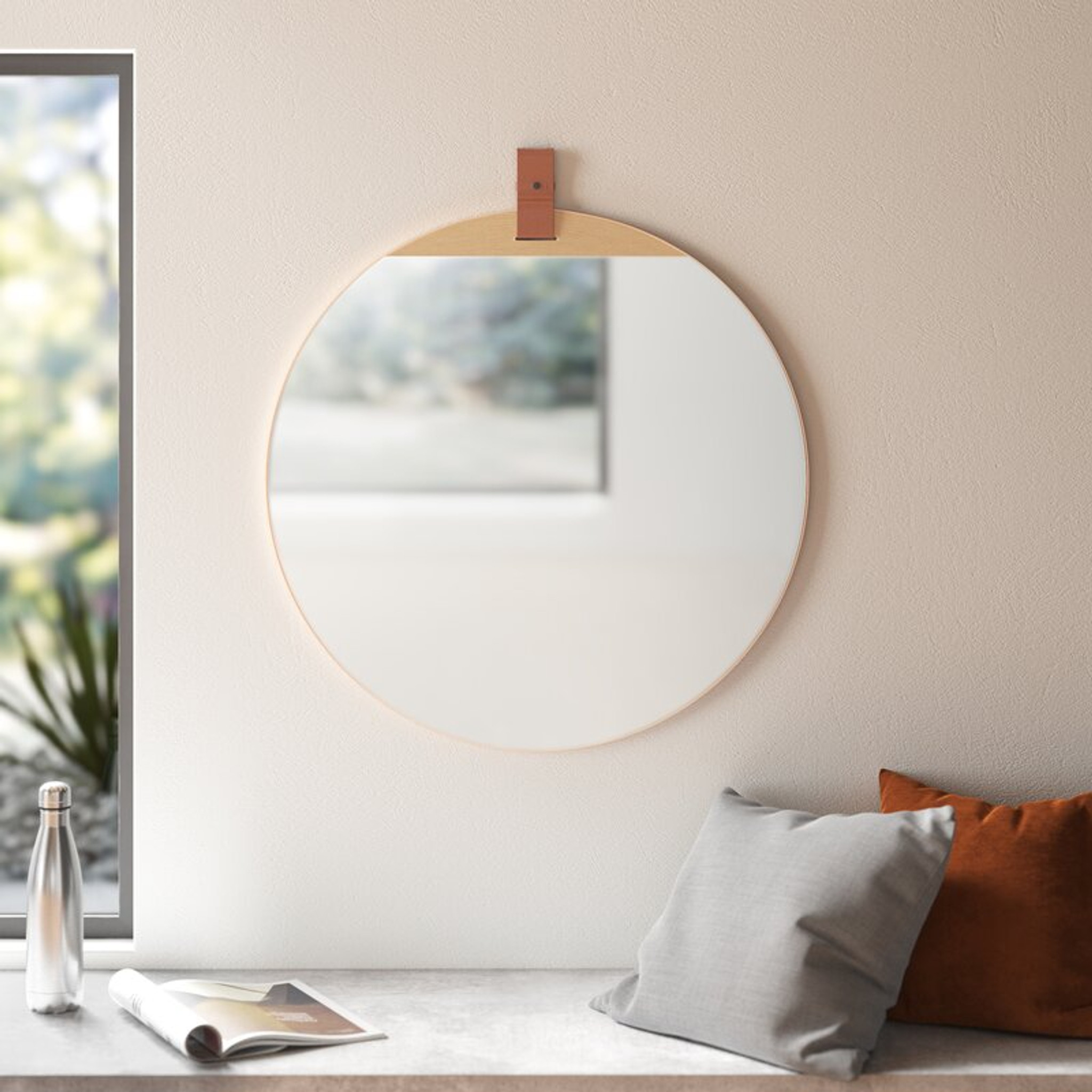 cooper classics Heppner Wall Mirror frameless round leather strap top