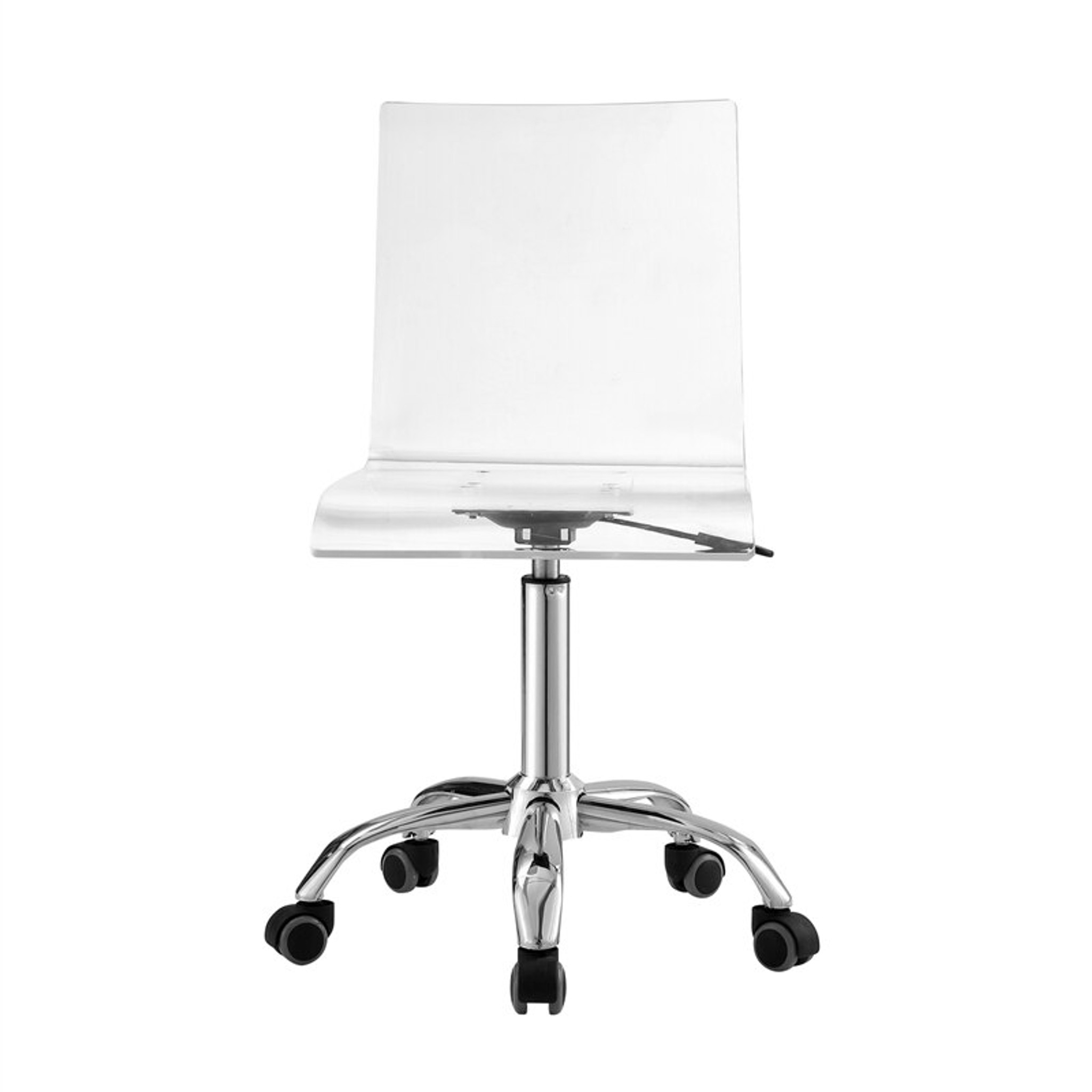 Image of: Square Acrylic Desk Chair With Swivel Chrome Base Clear Home Design