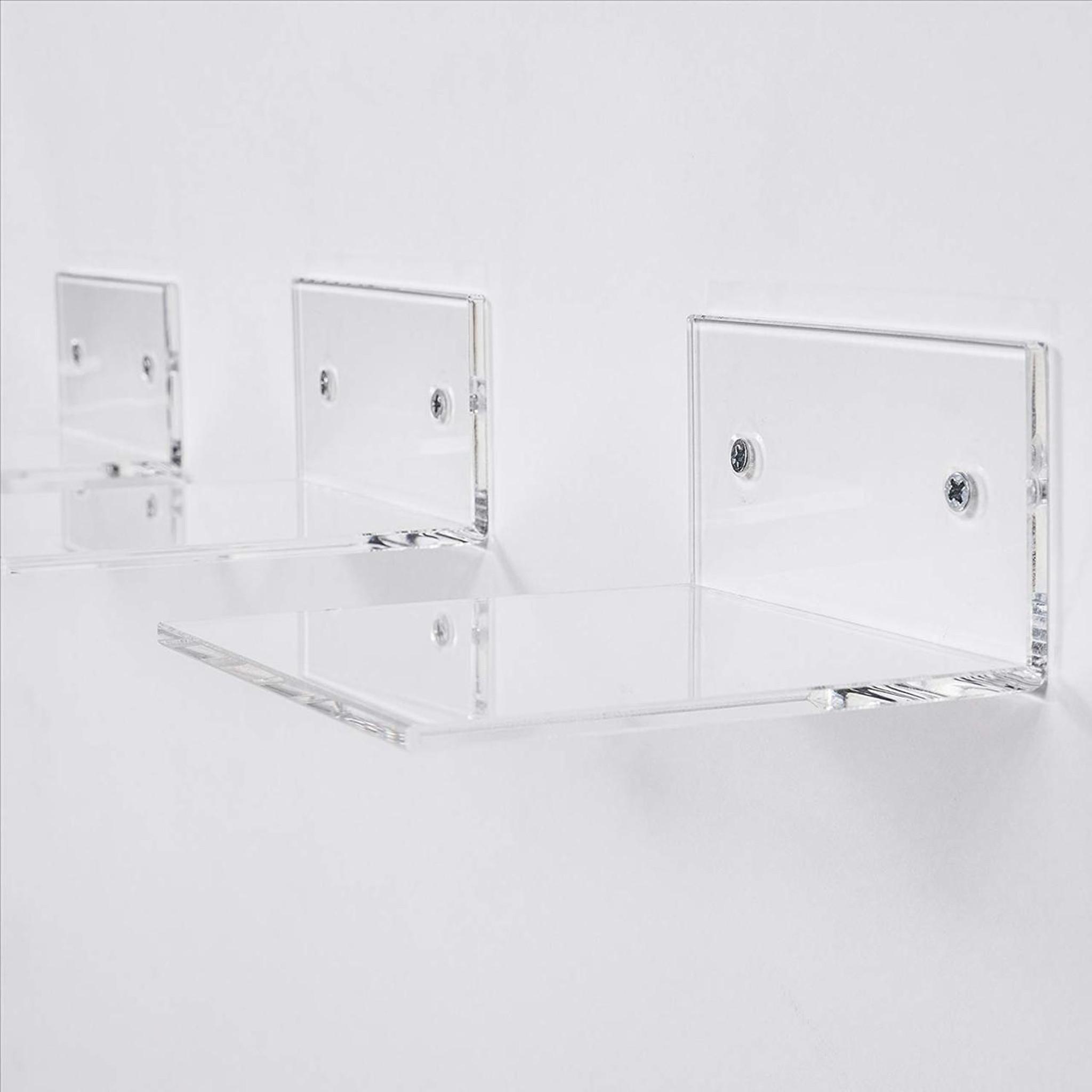 clear acrylic floating wall bracket shelf shelves ledge set of 15