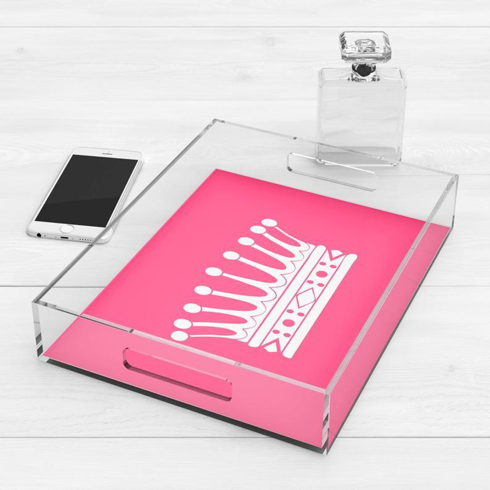 large acrylic tray pink with handles for kids teen crown princess theme cheap