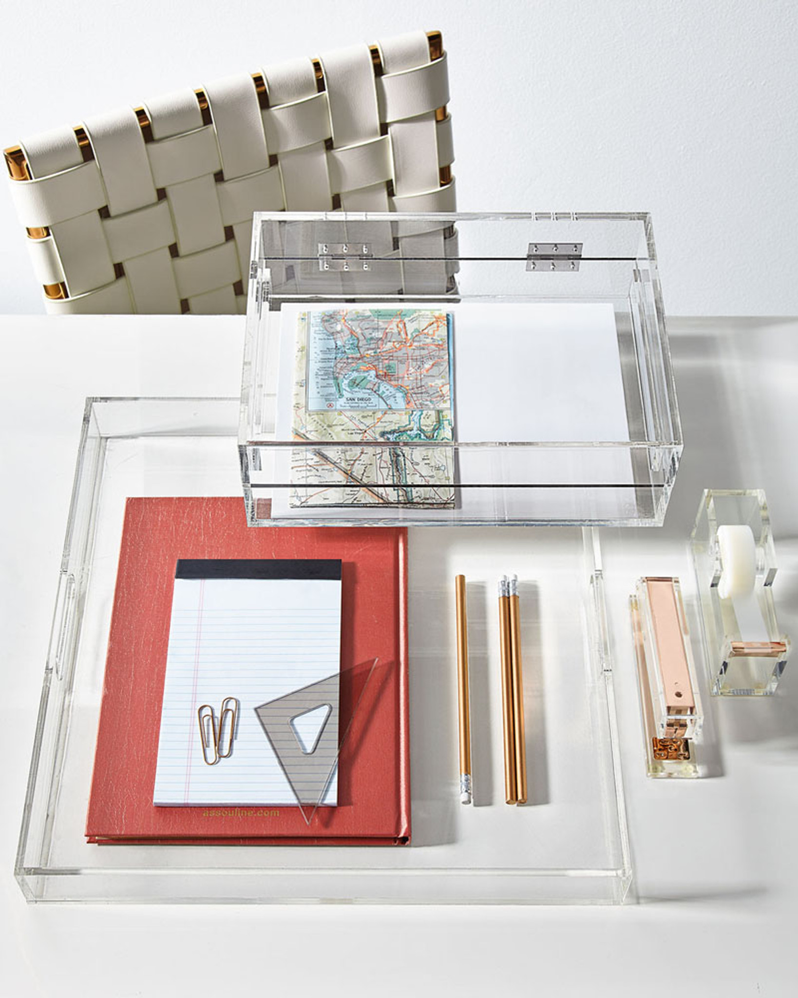 Russell and hazel square acrylic lucite tray handles desk office organizer
