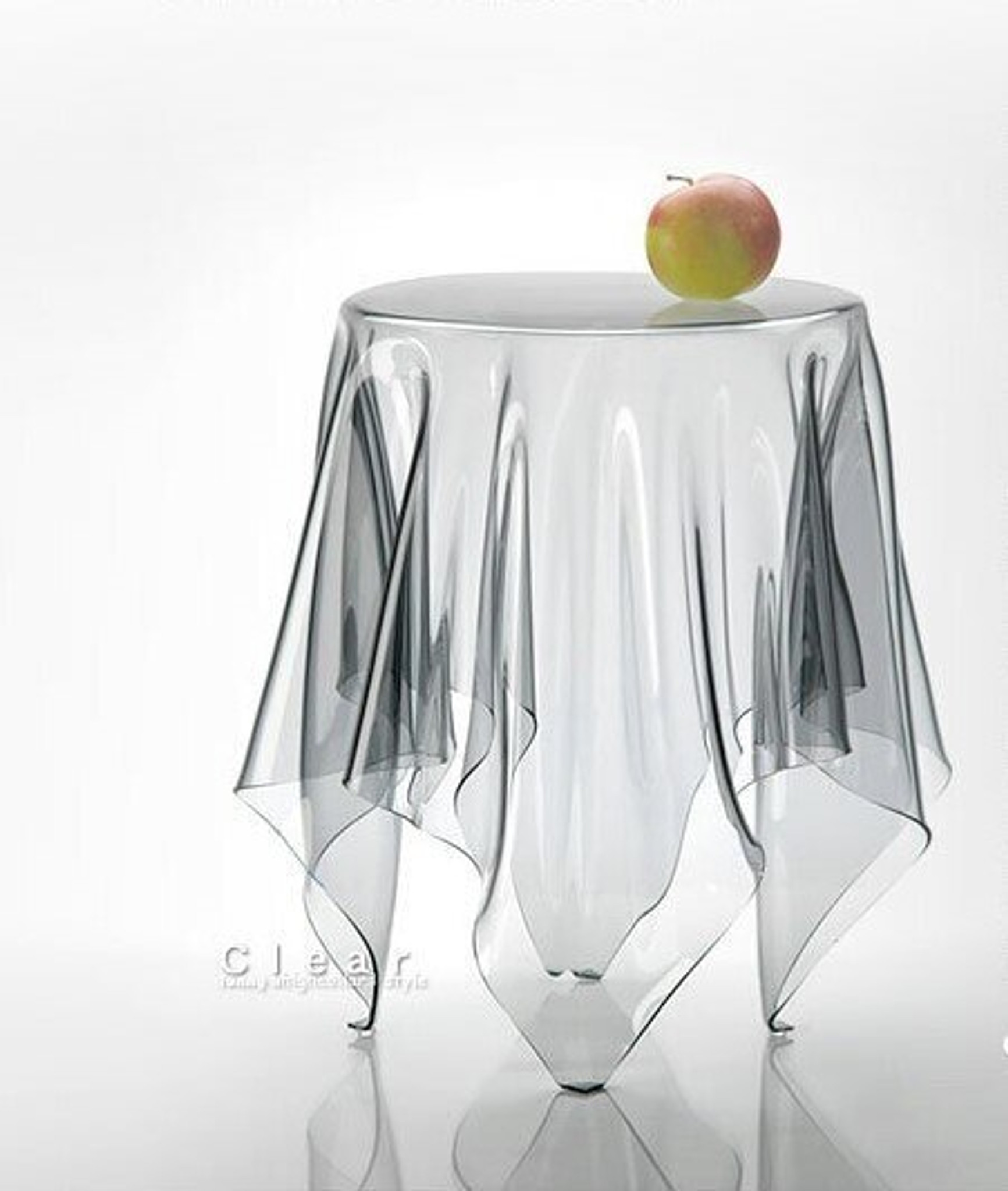 clear ghost table side essey illusion side end accent skirt table