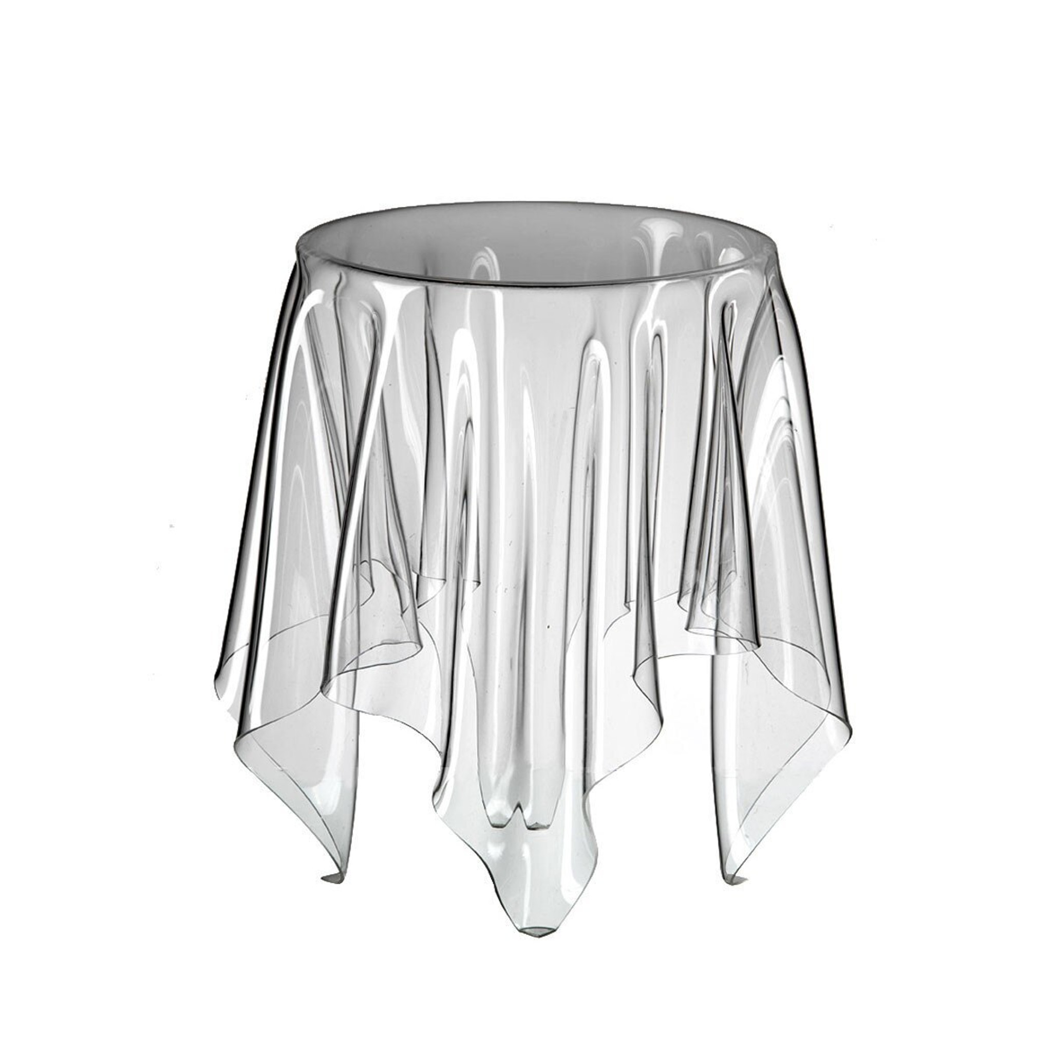 essey illusion skirt end side accent table clear acrylic ghost table top view
