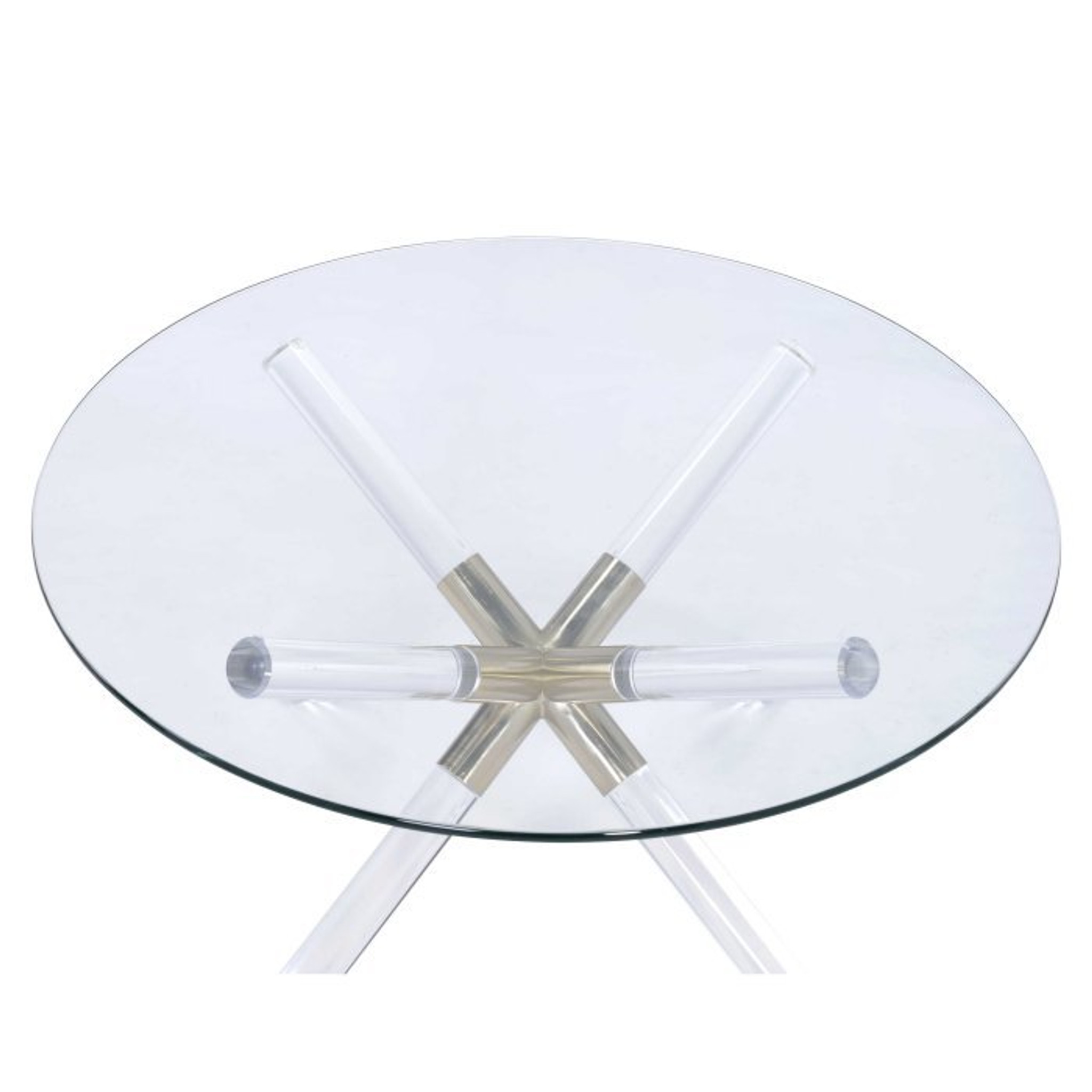 acme kalani lucite coffee table with round glass top and acrylic star shape base