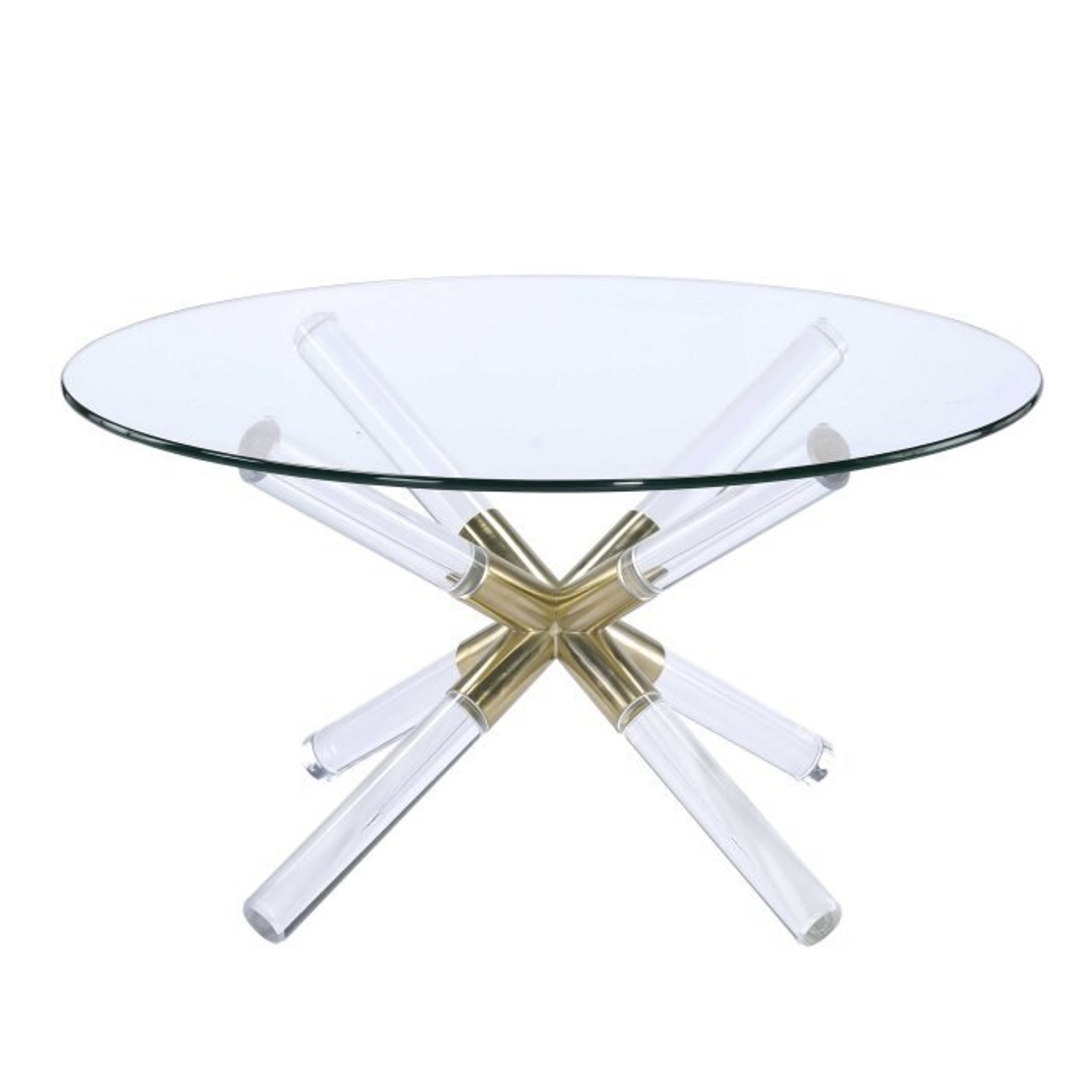 clear acrylic coffee table with lucite base and glass top acme kalani
