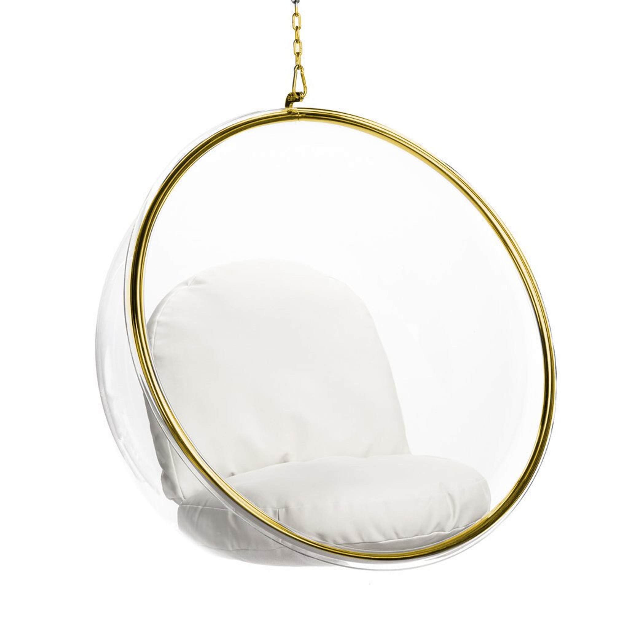 bubble chair for hanging with gold trim white and white cushion set clear acrylic lucite