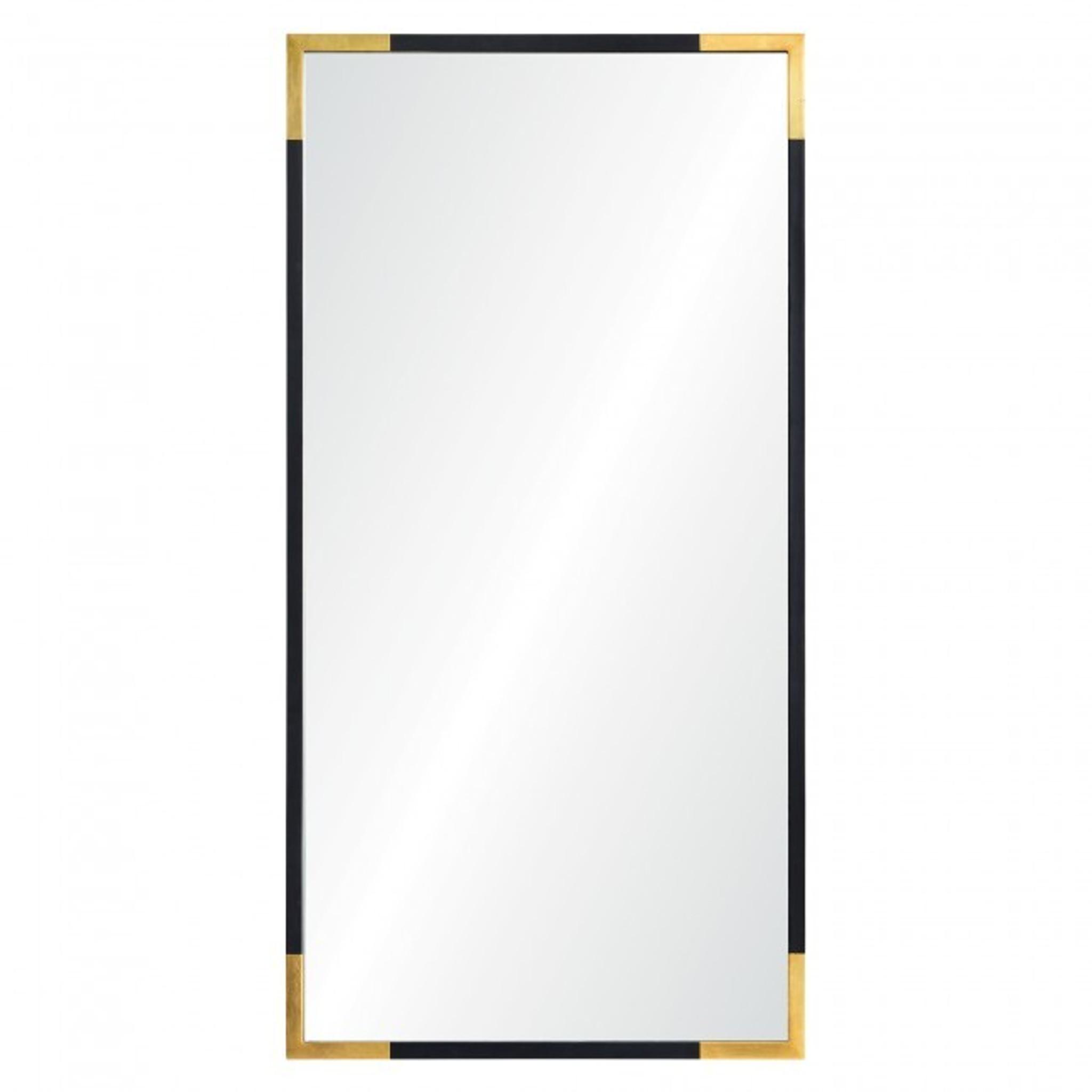 rectangular wall mirror décor renwil Osmond black and gold sleek modern bathroom powder room wall
