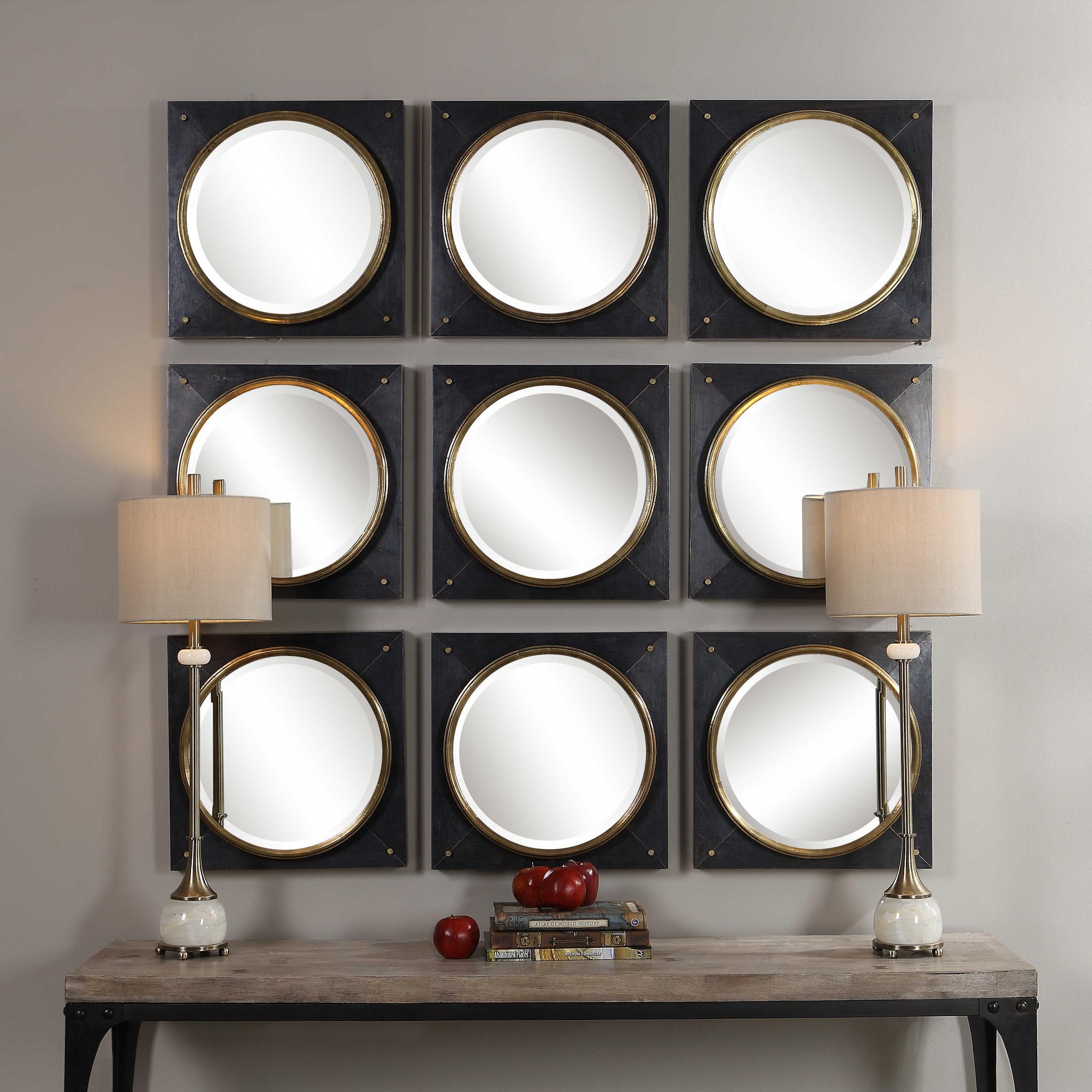 black square mirror with gold bullseye center tobiah uttermost