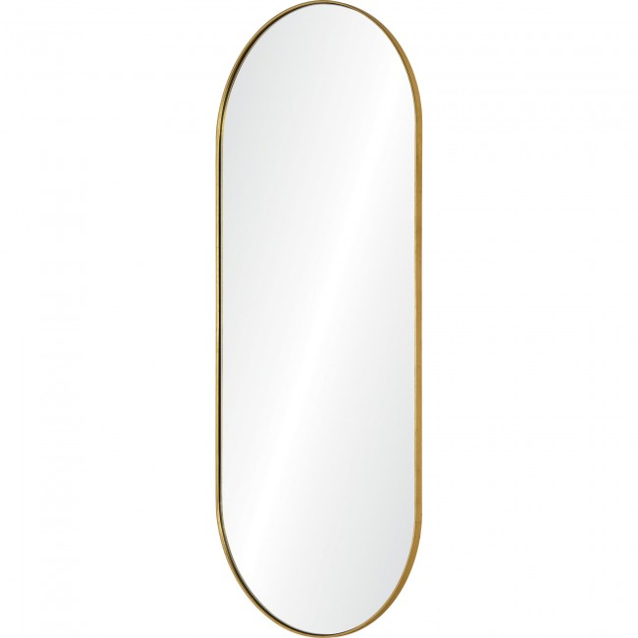 renwil marius gold leaf brass metal tall oval racetrack shape wall mirror contemporary