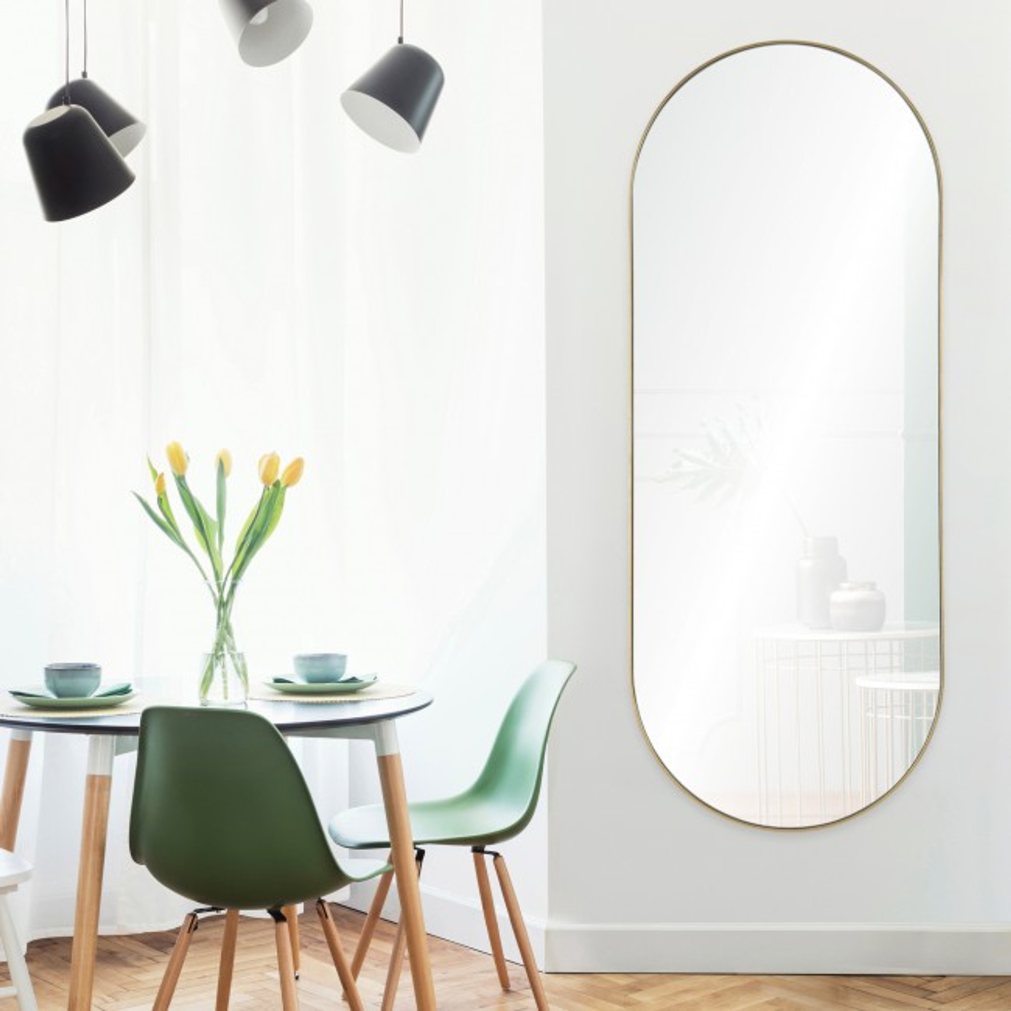 renwil marius gold leaf brass metal tall oval racetrack shape wall mirror dressing hanging