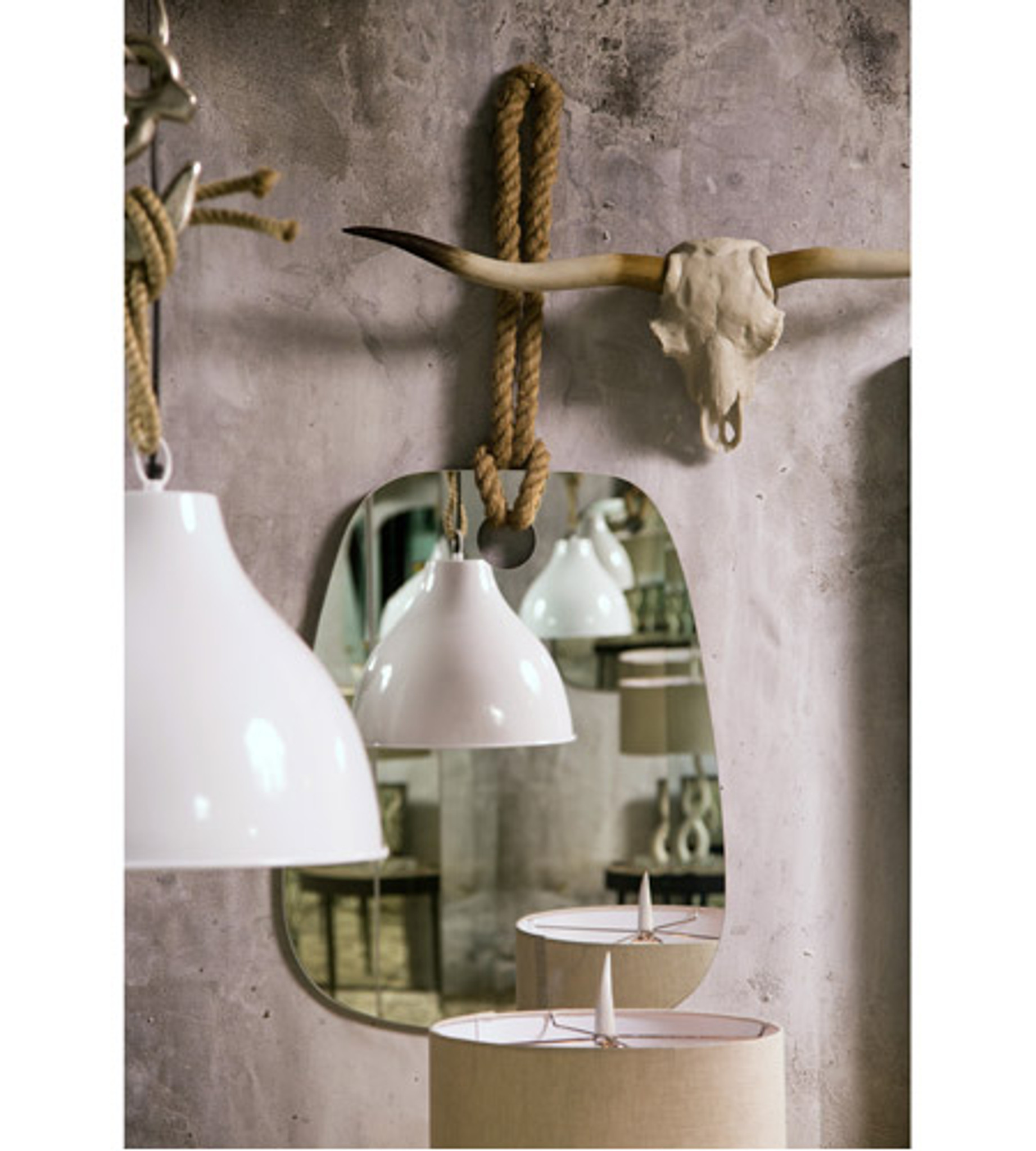 modern mirror that hangs from rope kids room boys decor