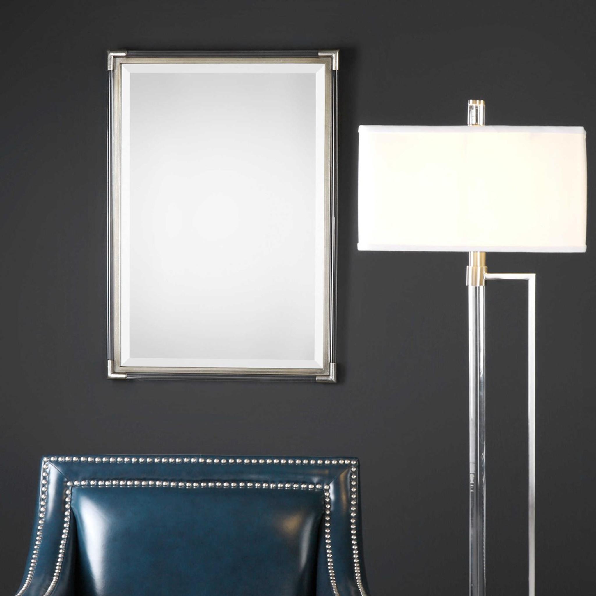 clear acrylic lucite silver rods modern decorative wall mirror uttermost mackai