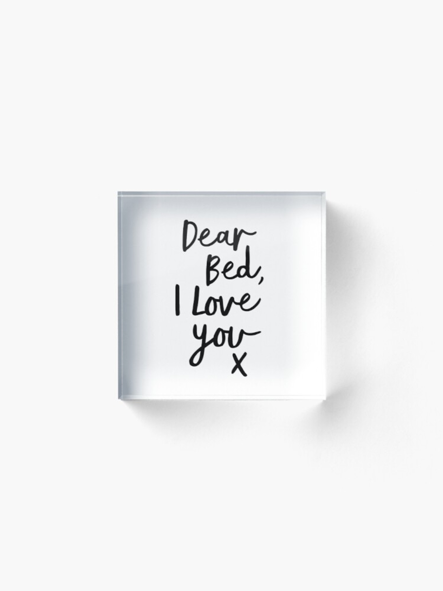 black and white lucite clear Acrylic Block Square Funny Wall Art