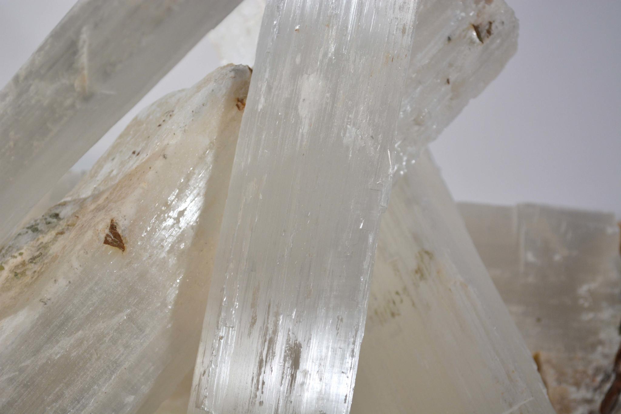 white selenite crystal quartz transluscent set of 3 fireplace logs clear