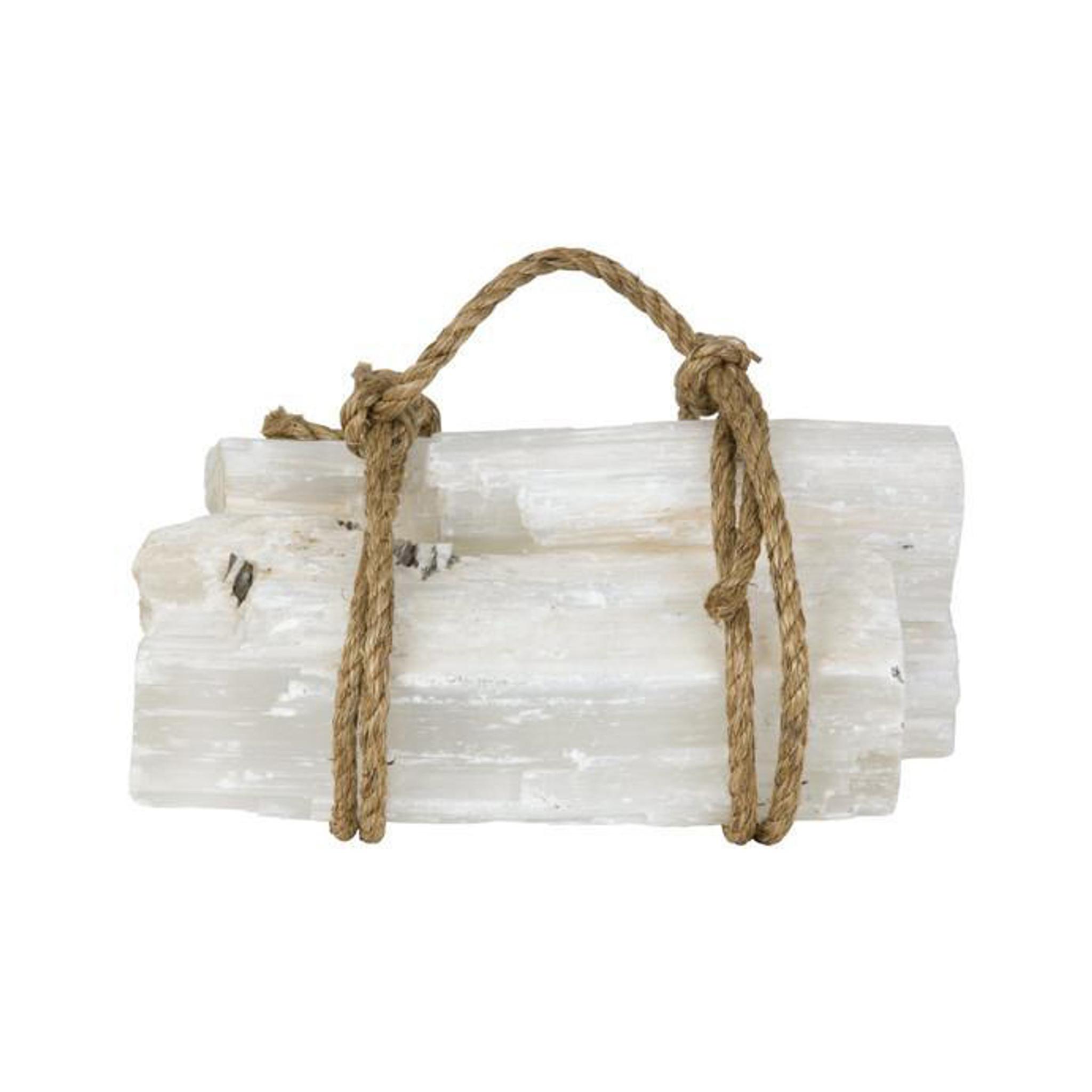 white selenite log set of 3 crystal quartz long pieces fireplace accessory