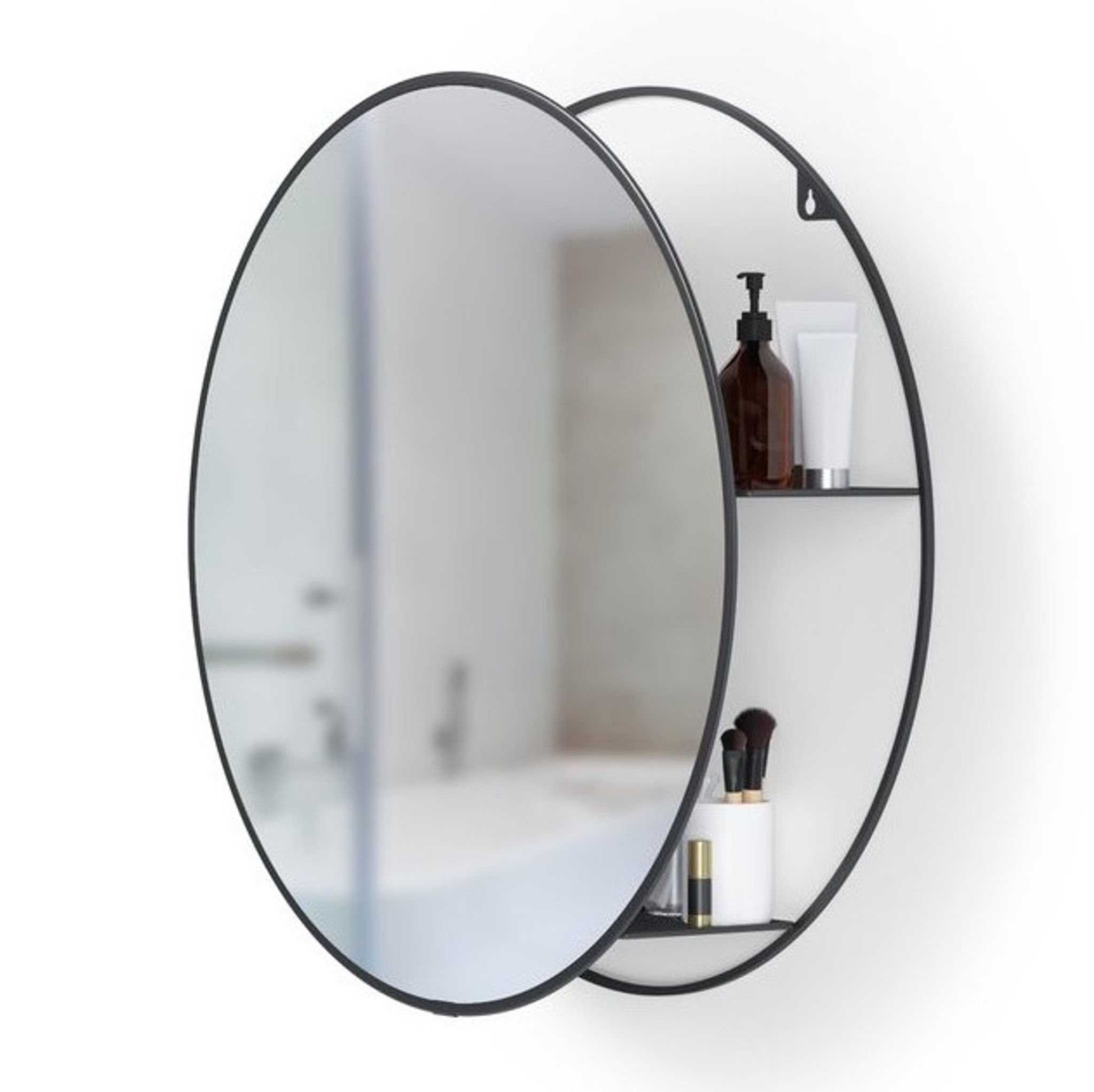 Round Black Metal Storage Vanity Mirror Clear Home Design