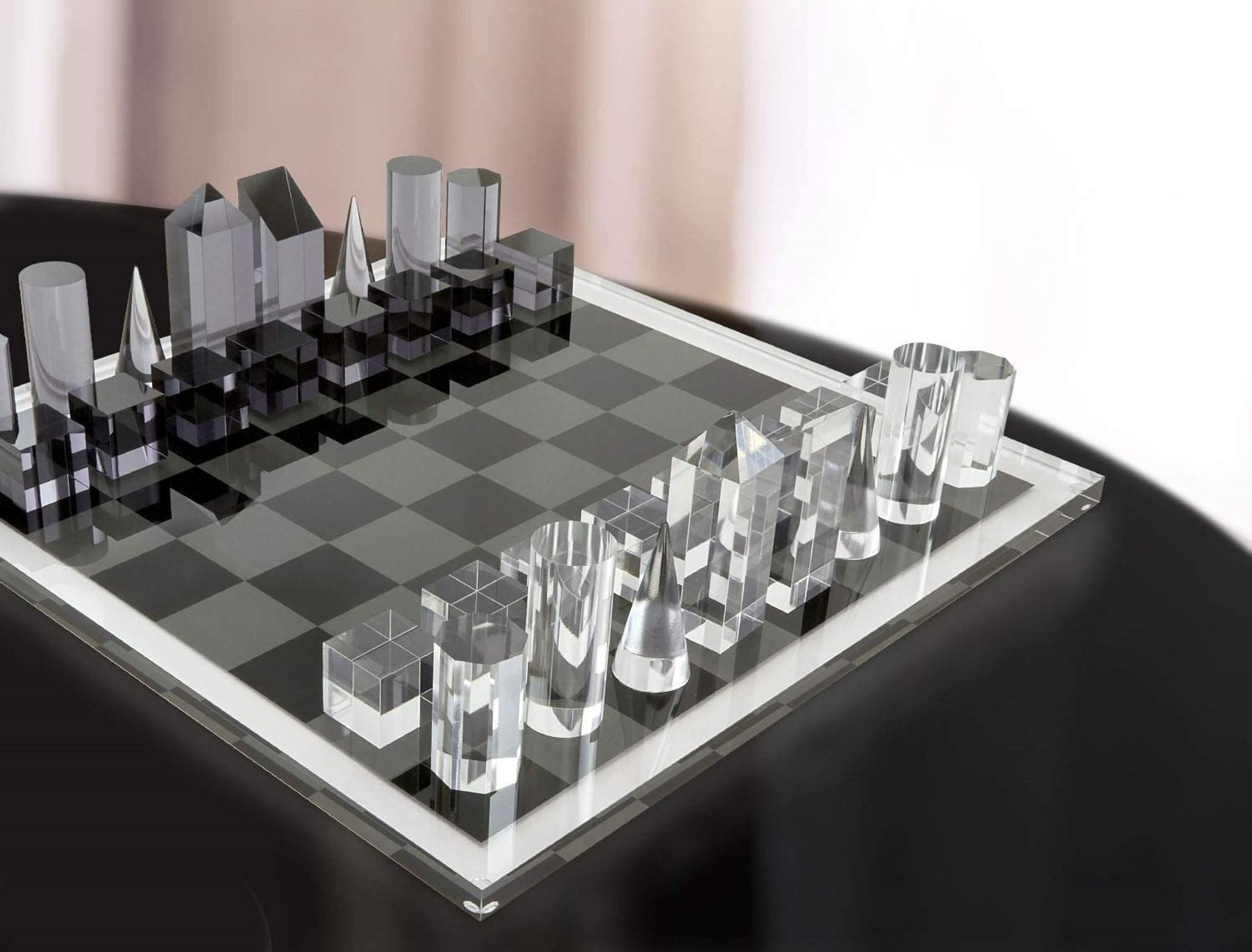 tizo luxury acrylic skyscraper black and white chess set luxury lucite
