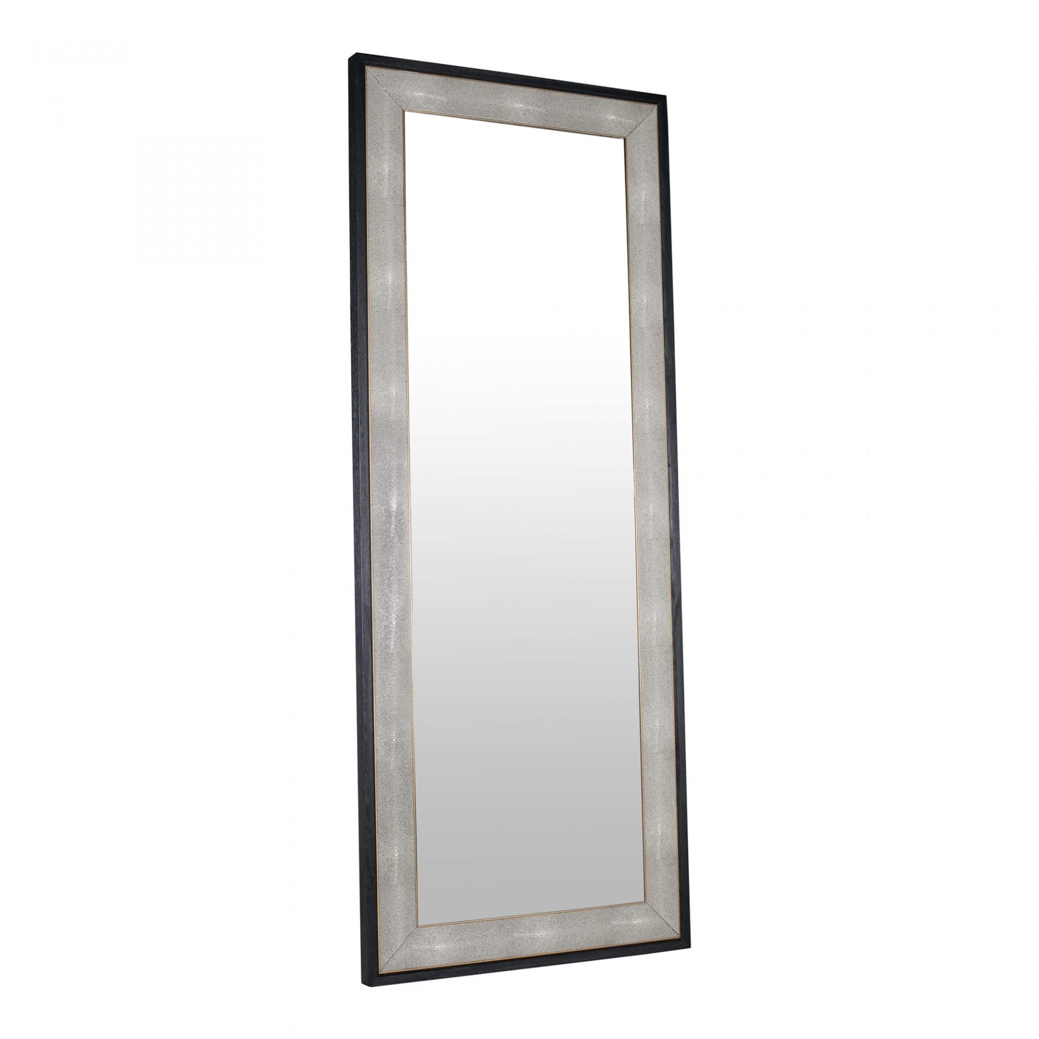 mako moes home collection black shagreen texture floor standing wall leaner mirror modern