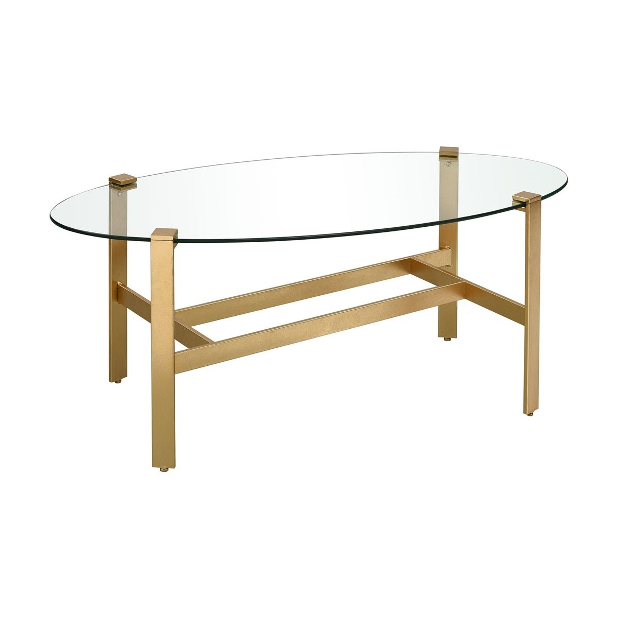 Oval Glass Coffee Table With Modern Gold Legs Clear Home Design